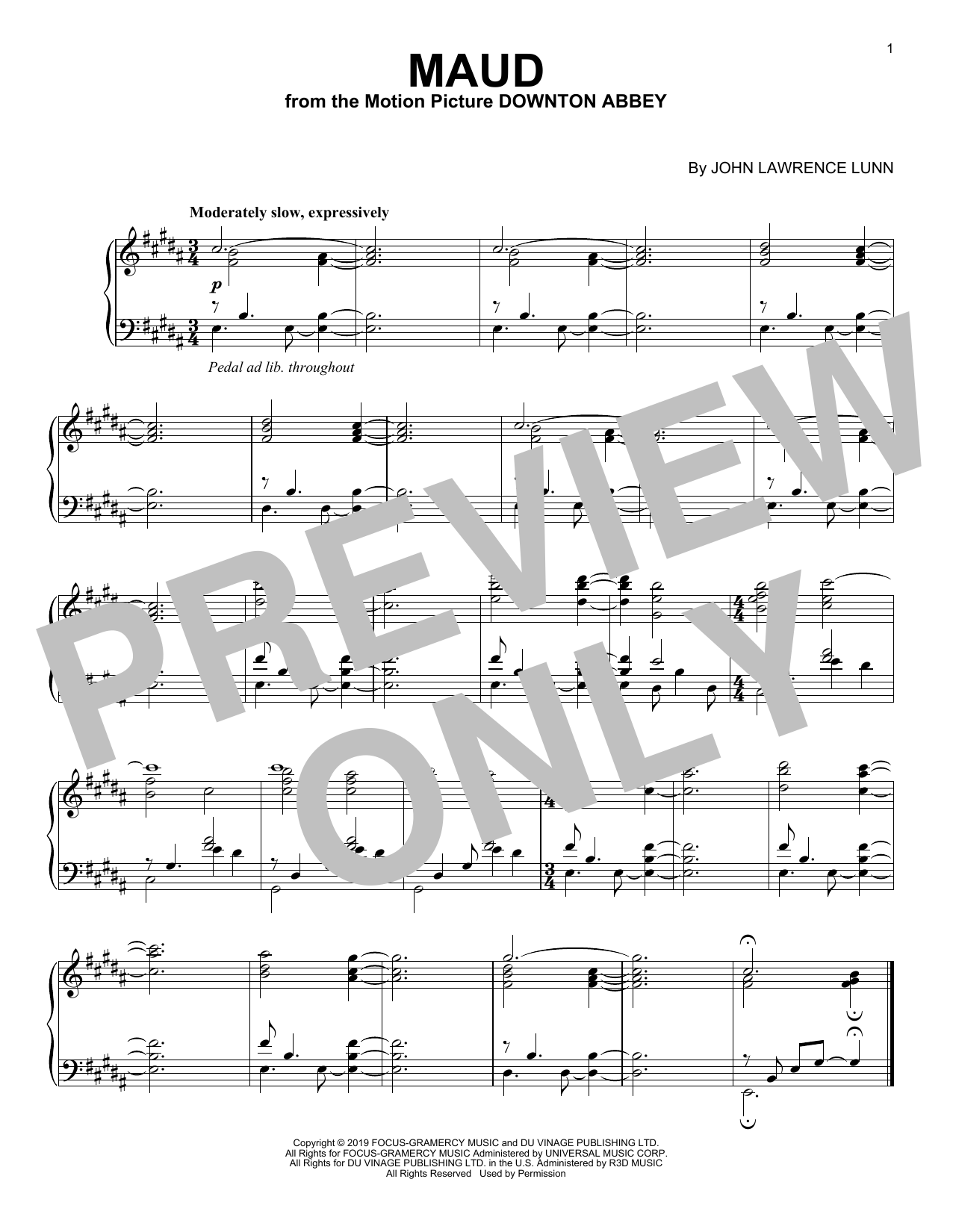 Maud (from the Motion Picture Downton Abbey) (Piano Solo)