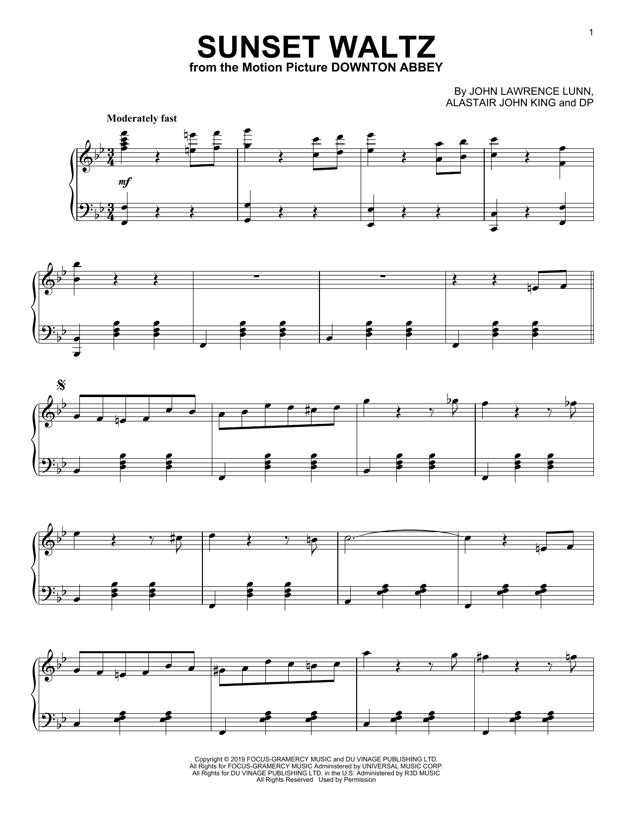Sunset Waltz (from the Motion Picture Downton Abbey) (Piano Solo)