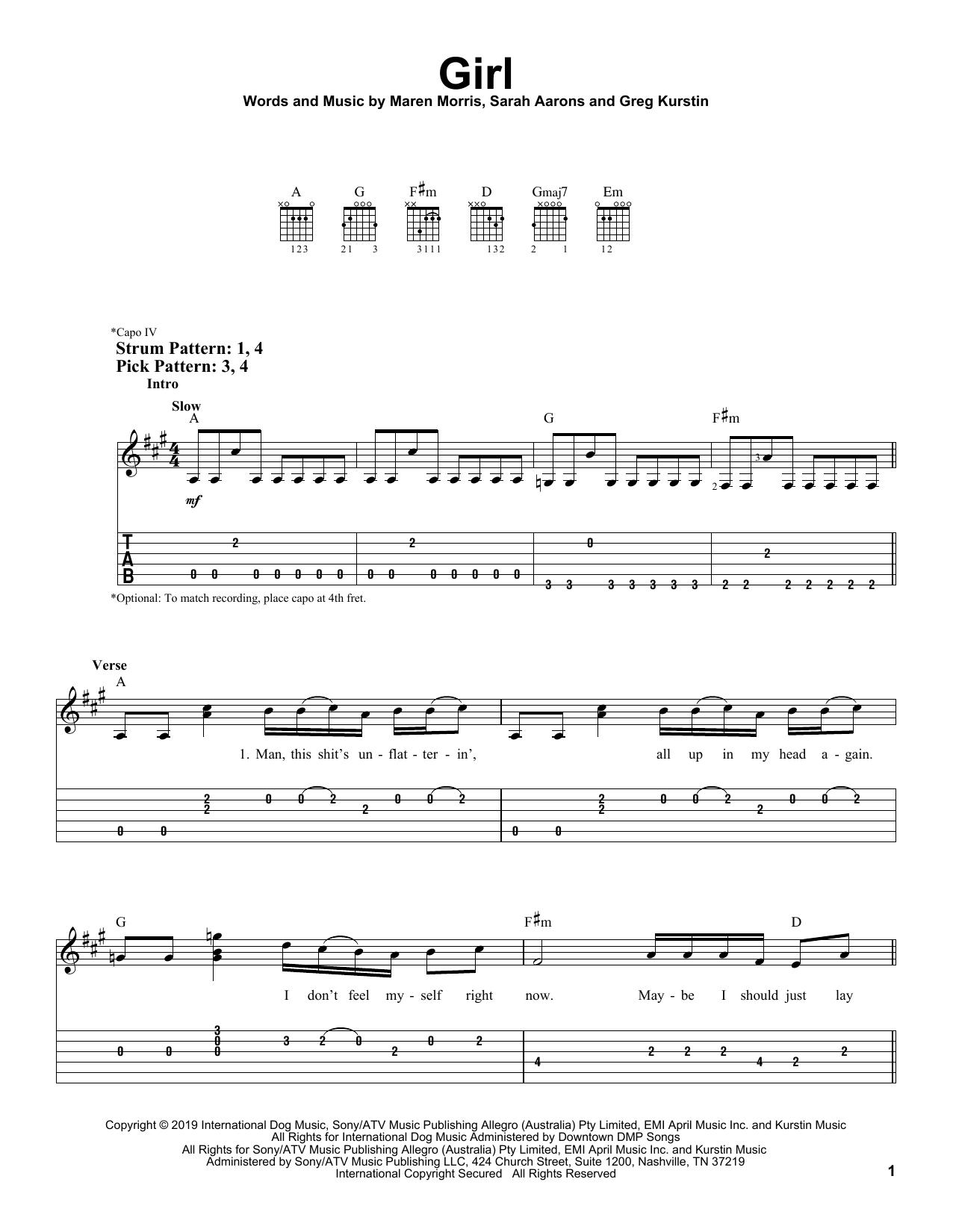 GIRL (Easy Guitar Tab)