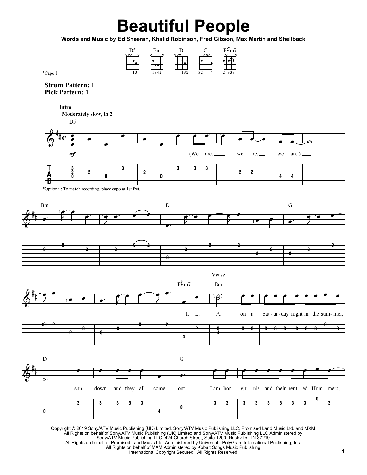 Beautiful People (feat. Khalid) (Easy Guitar Tab)