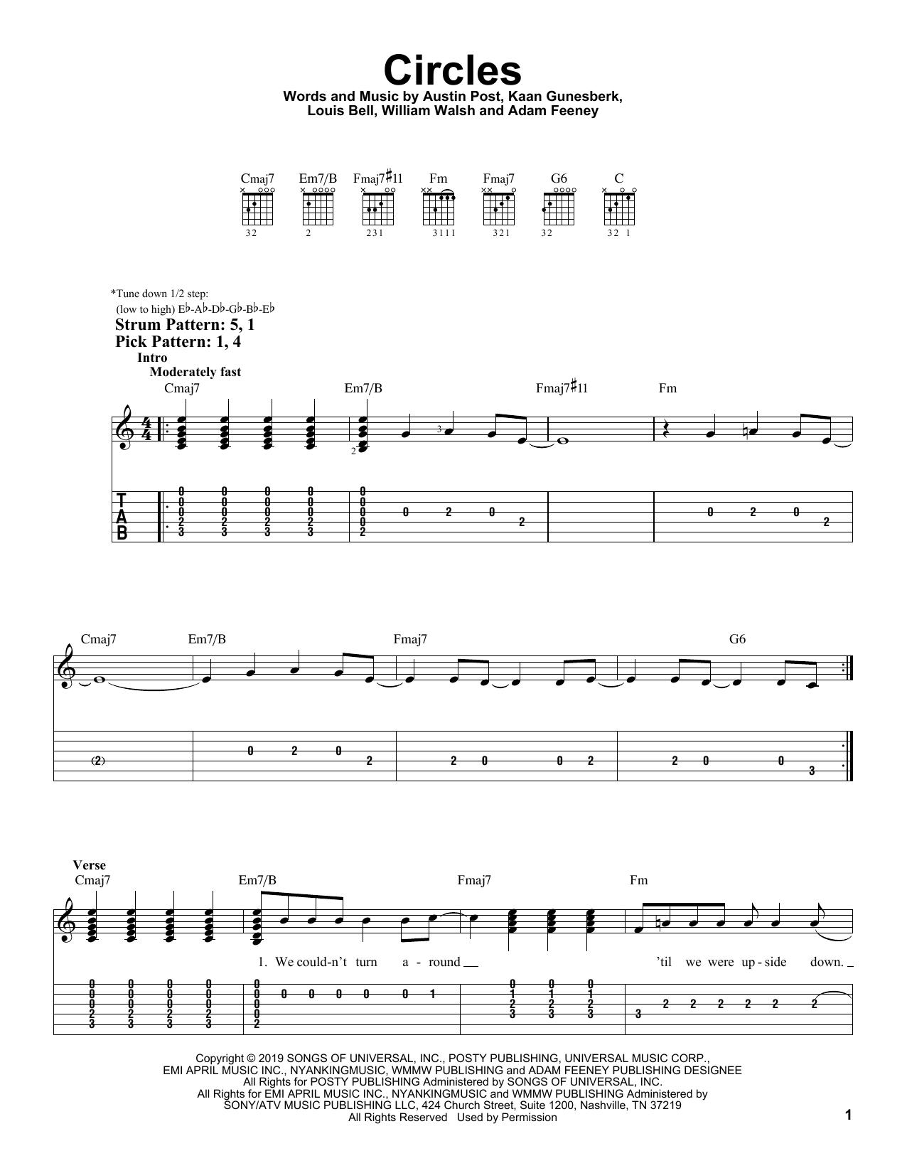 Circles (Easy Guitar Tab)