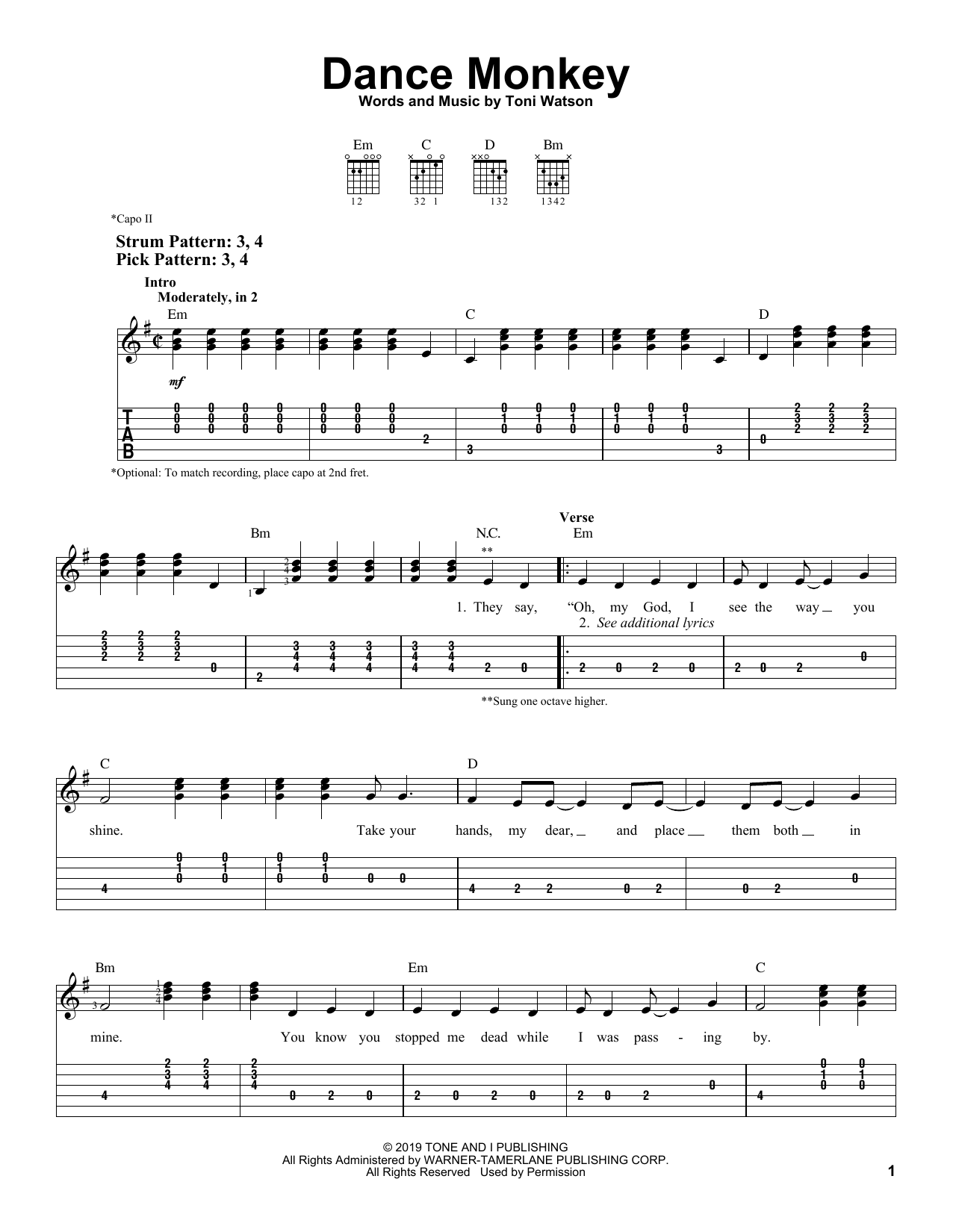 Dance Monkey Sheet Music Tones And I Easy Guitar Tab