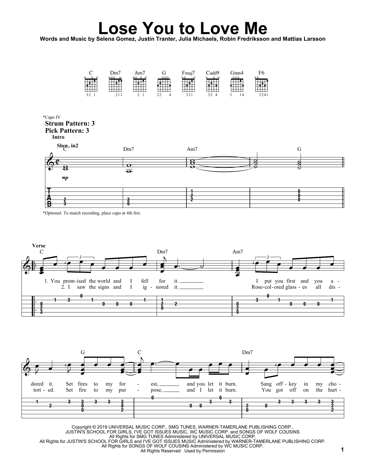 Lose You To Love Me (Easy Guitar Tab)