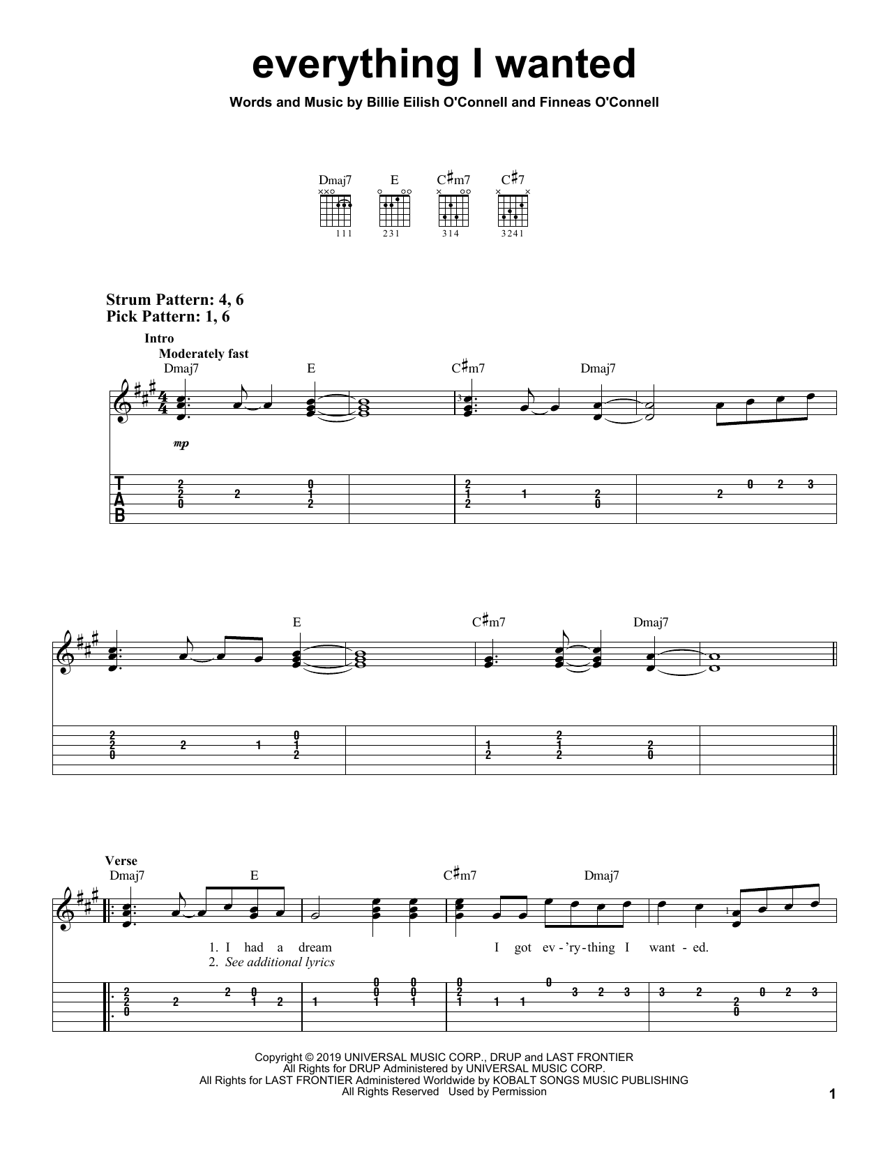 everything i wanted (Easy Guitar Tab)