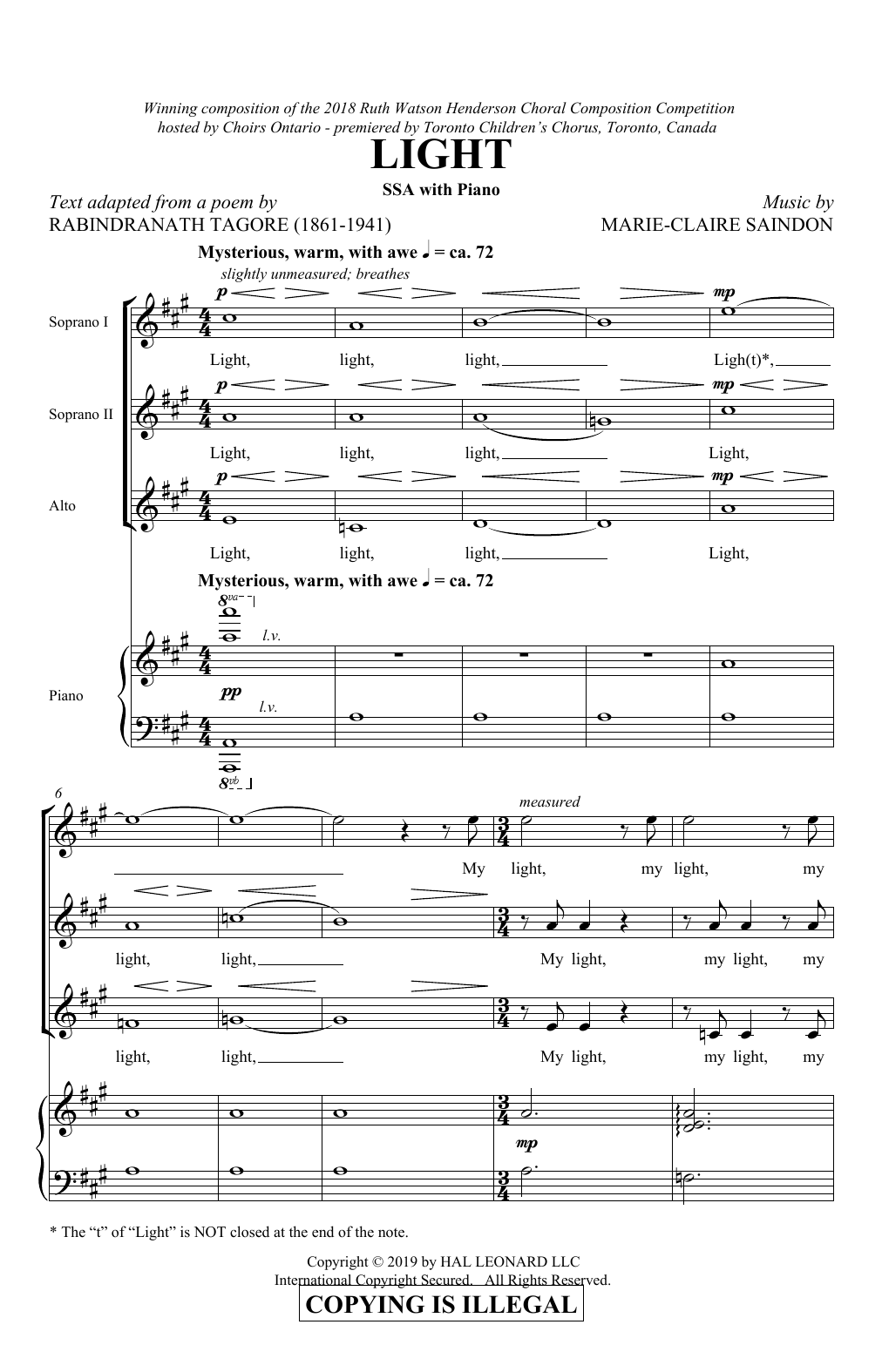 Light Sheet Music