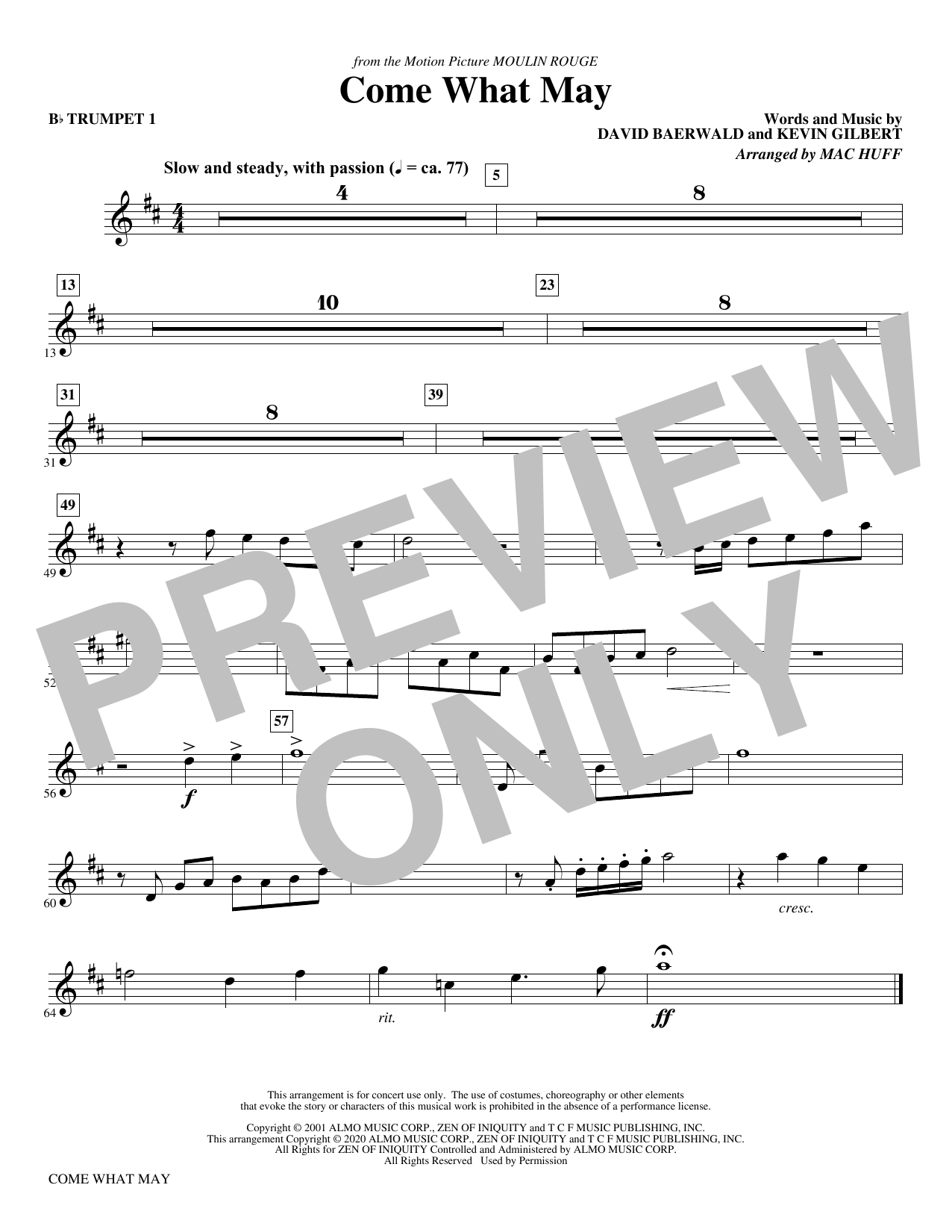 Come What May (from Moulin Rouge) (arr. Mac Huff) - Bb Trumpet 1 Sheet Music