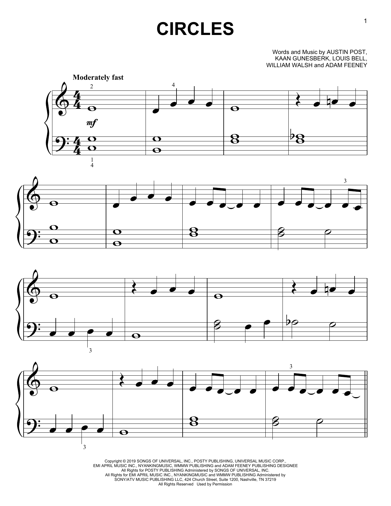 Circles (Big Note Piano)