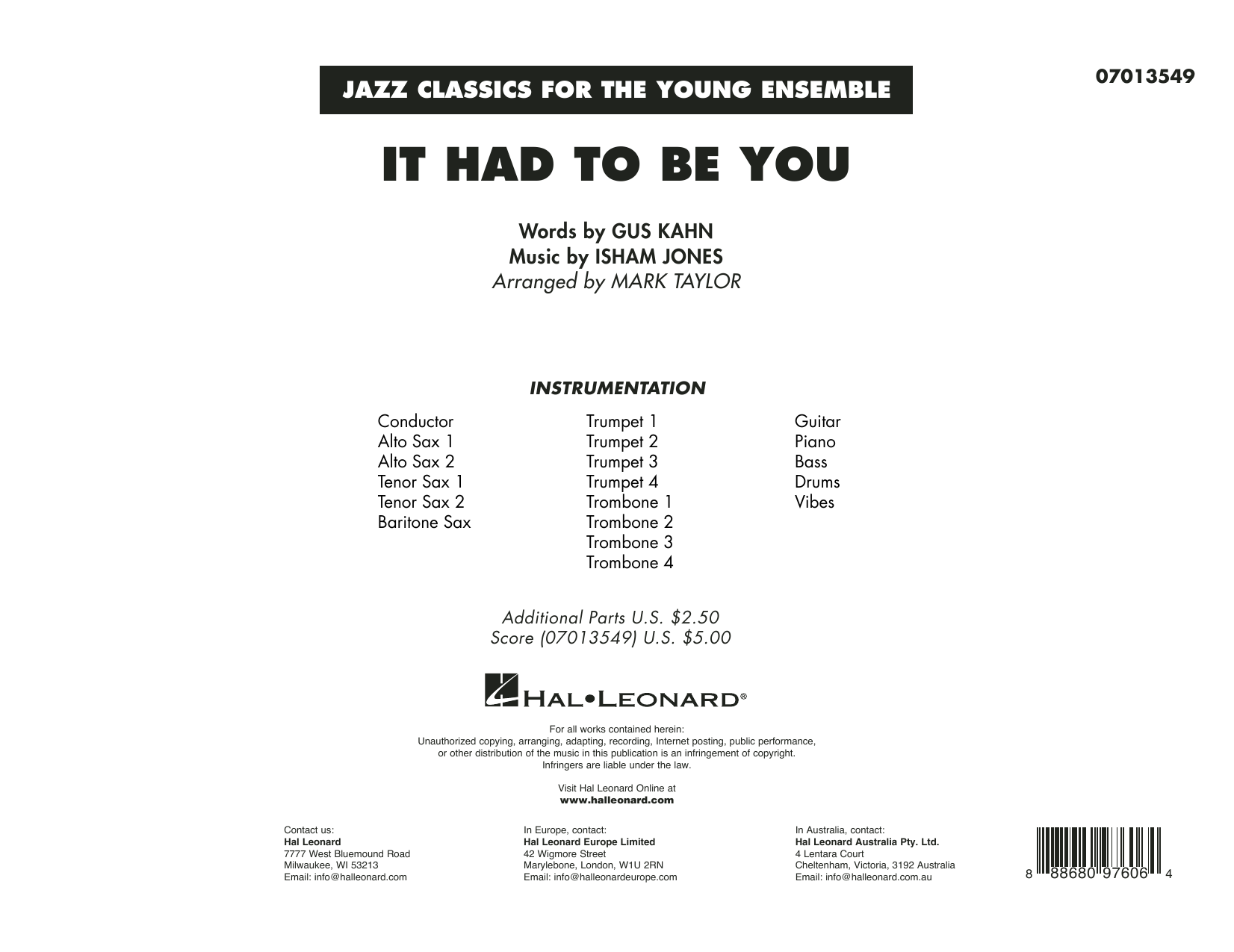 It Had to Be You (arr. Mark Taylor) - Conductor Score (Full Score) Sheet Music