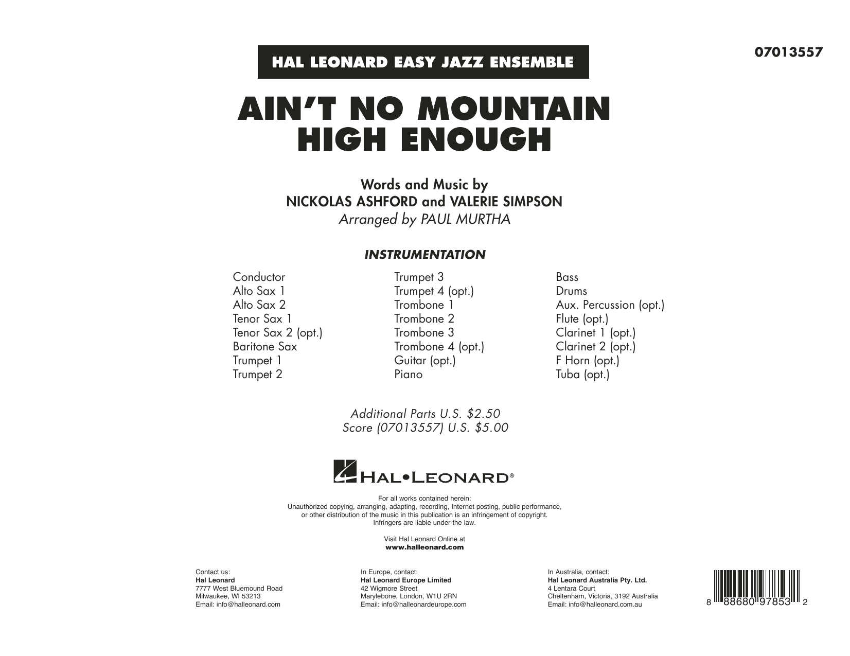 Ain't No Mountain High Enough (arr. Paul Murtha) - Conductor Score (Full Score) Sheet Music