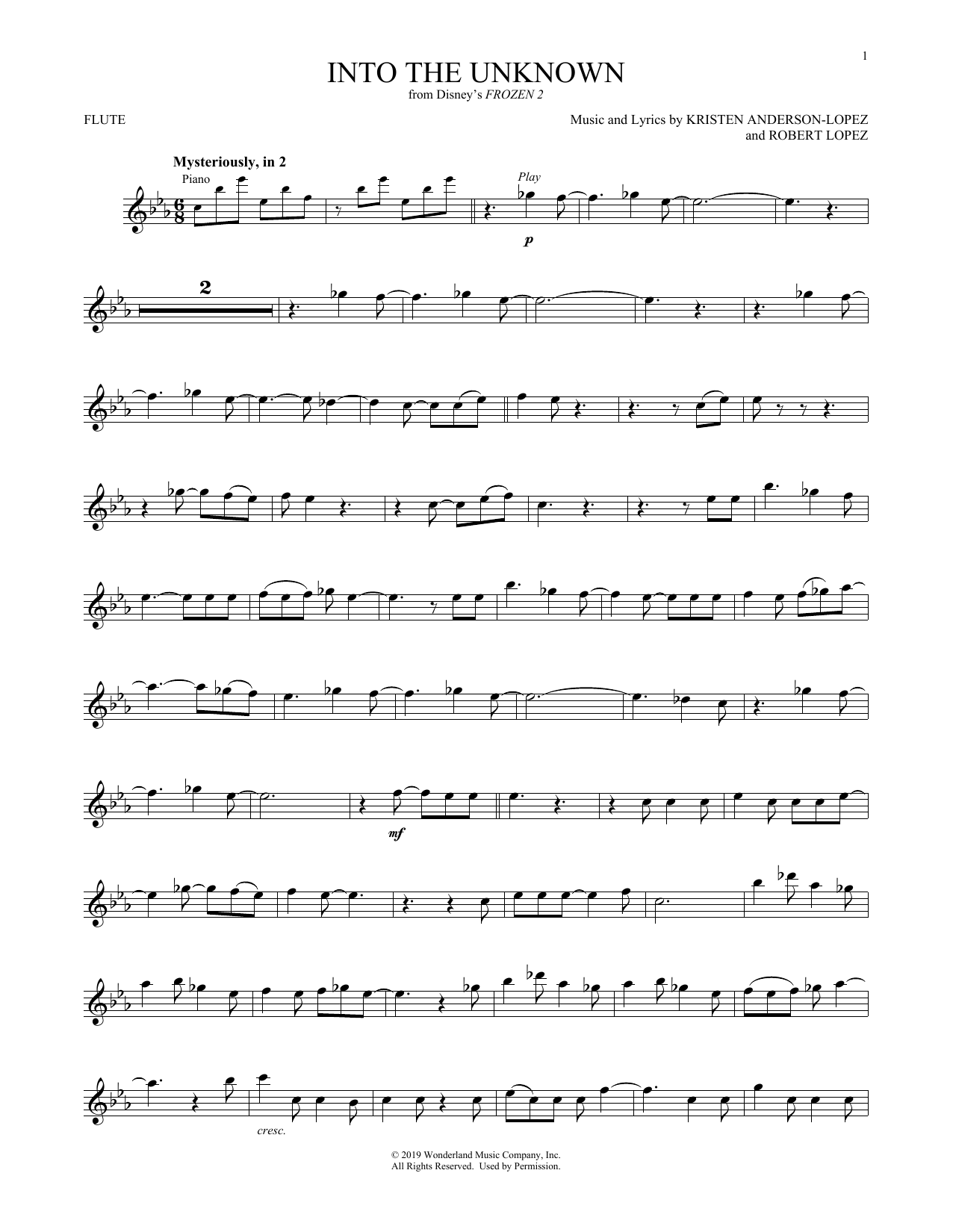 Into The Unknown (from Disney's Frozen 2) (Flute Solo)