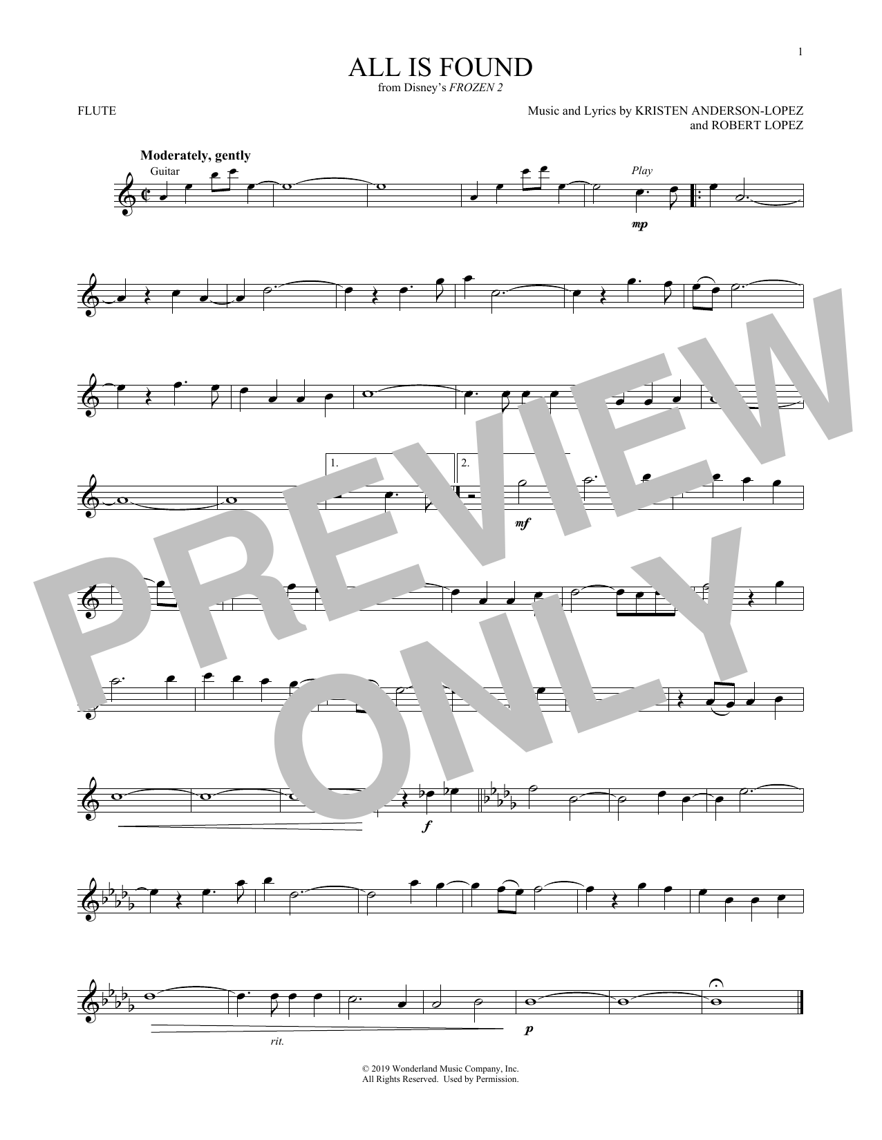 All Is Found (from Disney's Frozen 2) (Flute Solo)