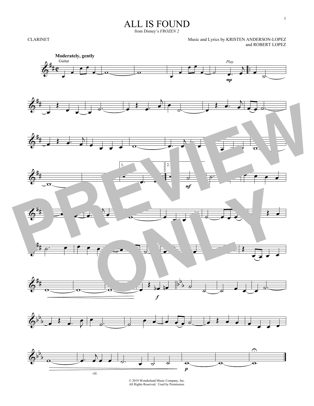All Is Found (from Disney's Frozen 2) (Clarinet Solo)
