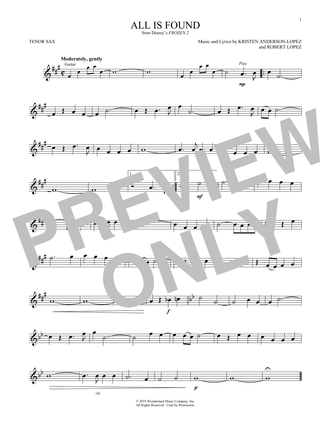 All Is Found (from Disney's Frozen 2) (Tenor Sax Solo)