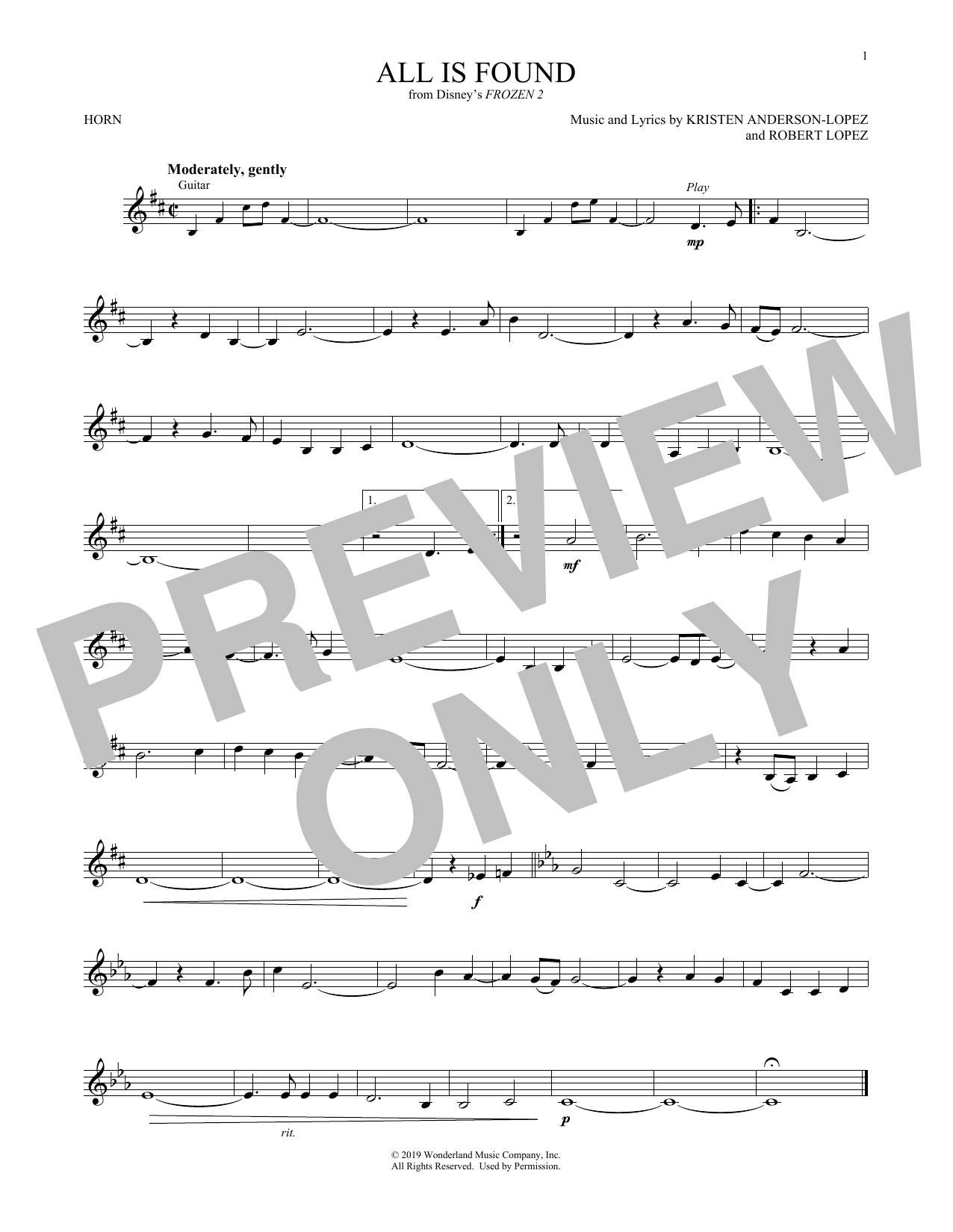 All Is Found (from Disney's Frozen 2) (French Horn Solo)