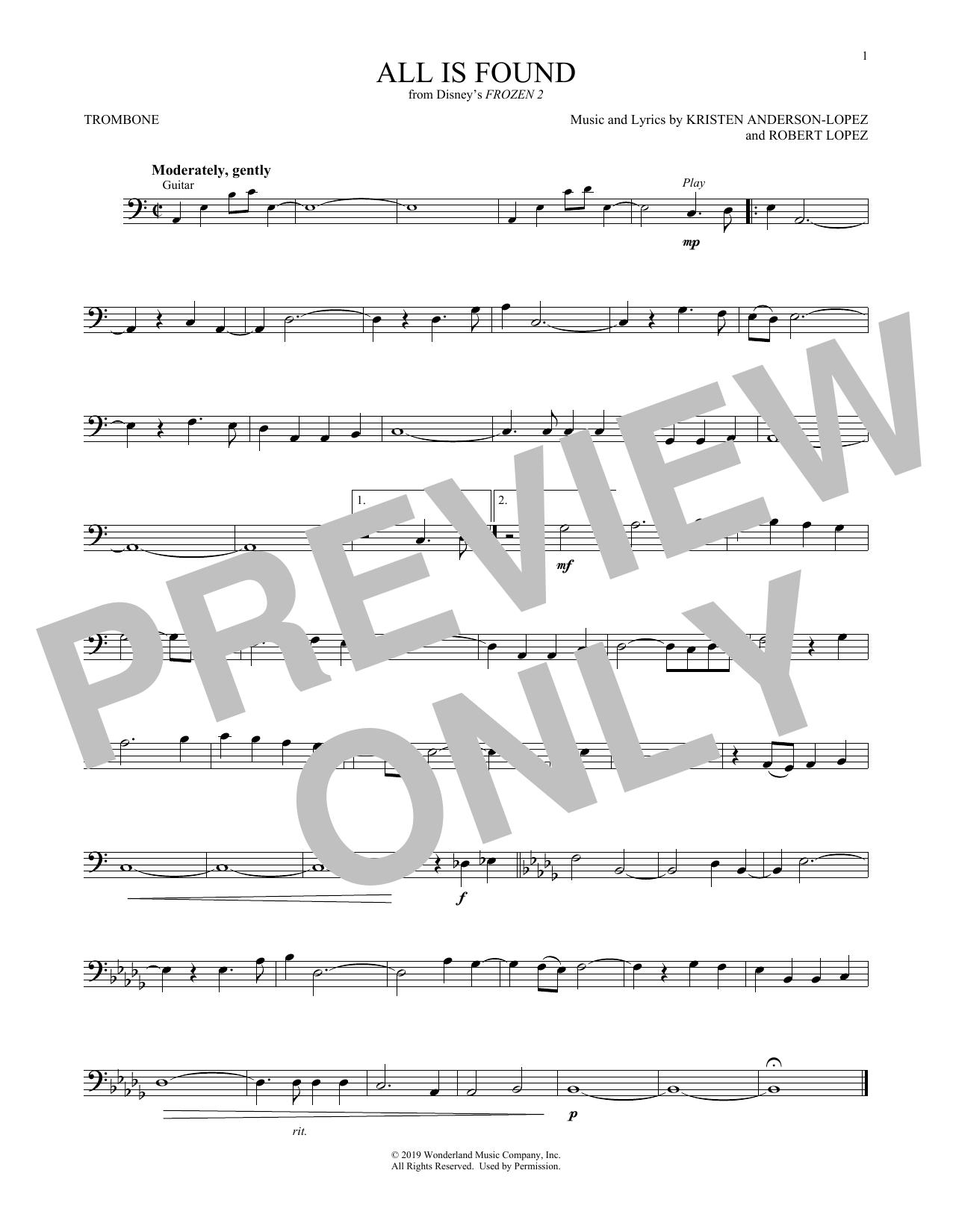 All Is Found (from Disney's Frozen 2) (Trombone Solo)