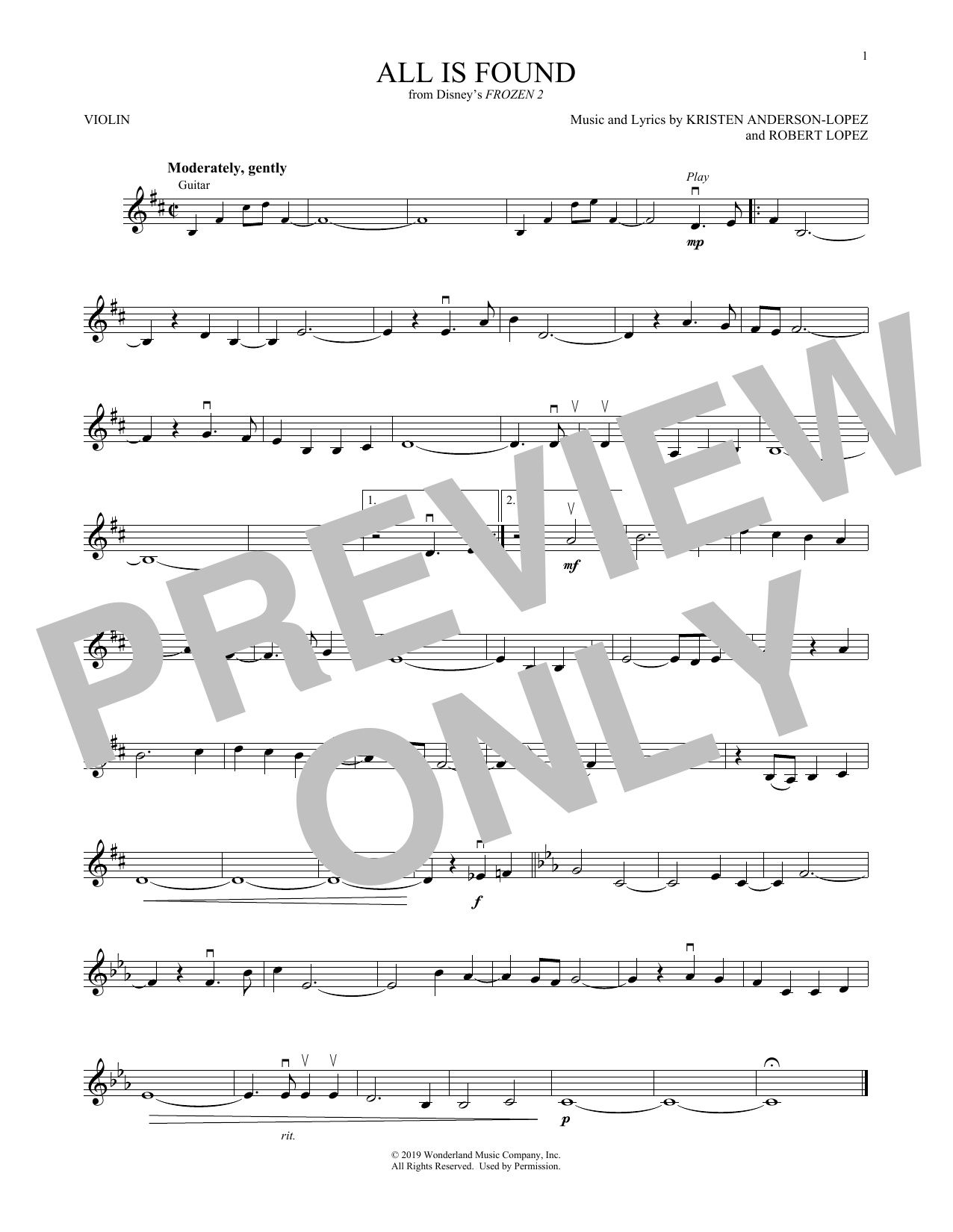 All Is Found (from Disney's Frozen 2) (Violin Solo)