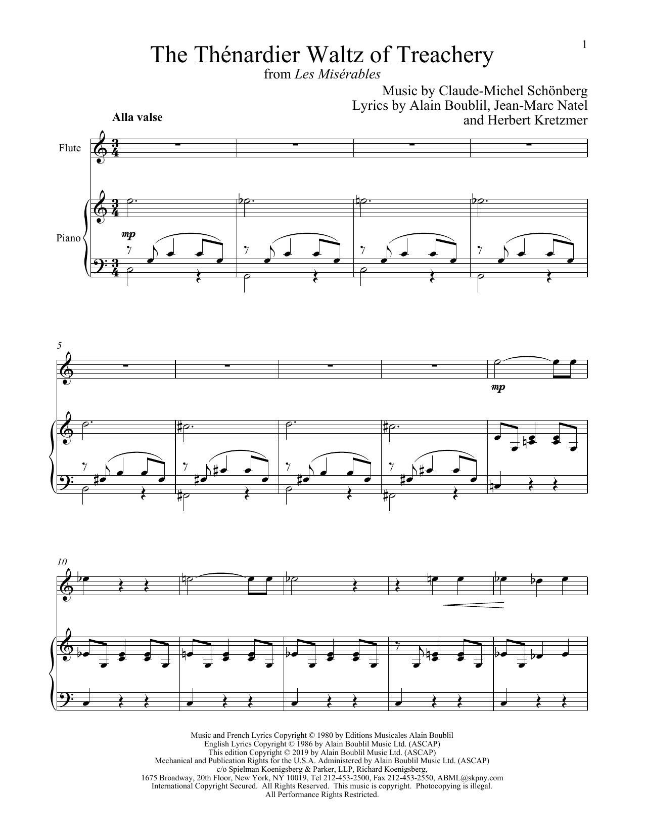 The Thénardier Waltz Of Treachery (from Les Miserables) (Flute and Piano)
