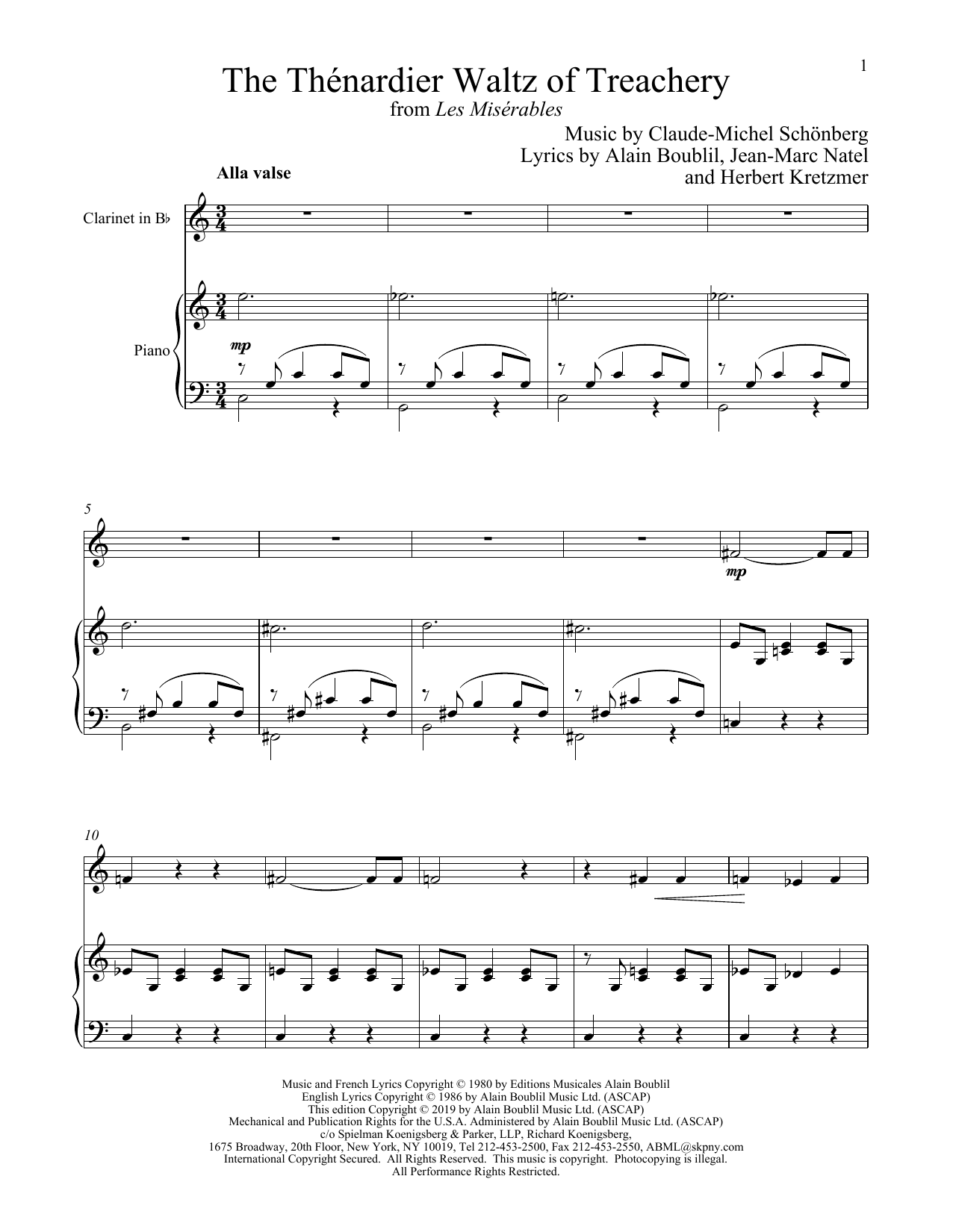 The Thénardier Waltz Of Treachery (from Les Miserables) (Clarinet and Piano)