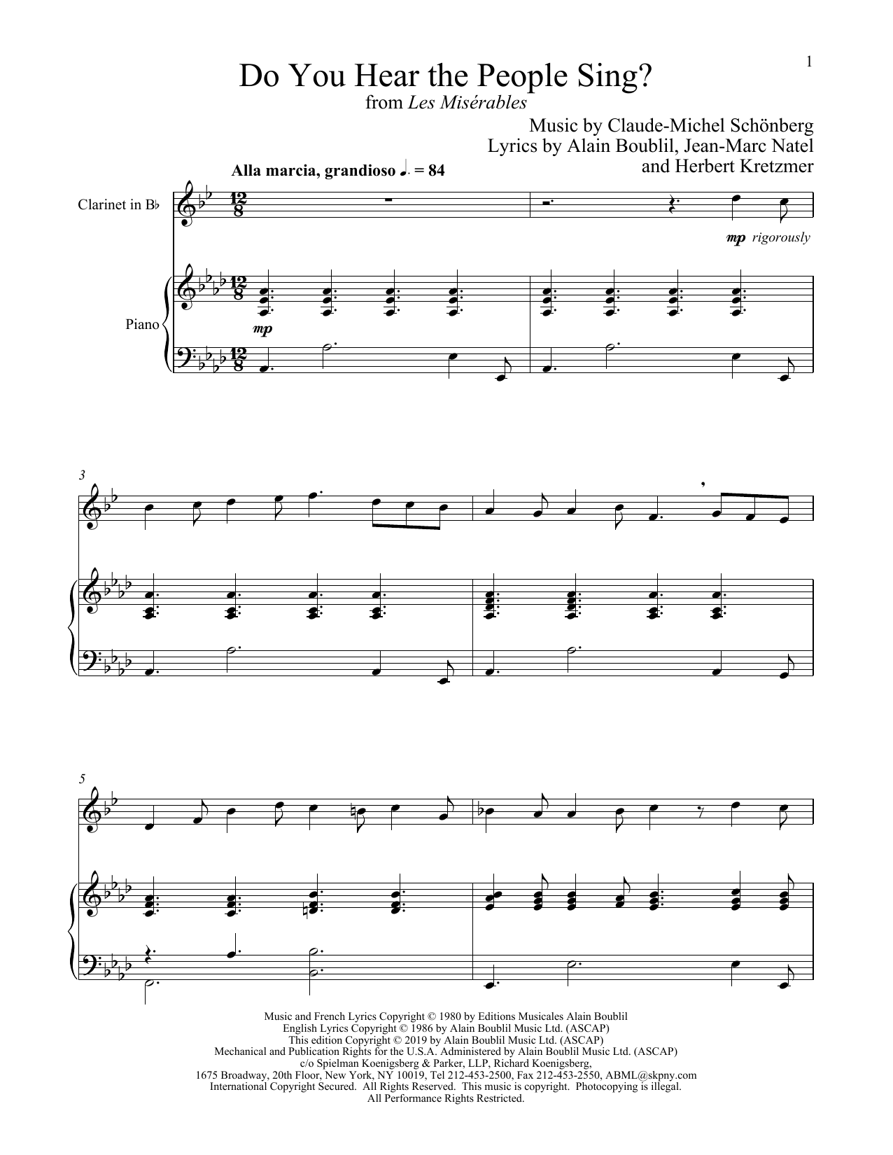 Do You Hear The People Sing? (from Les Miserables) (Clarinet and Piano)