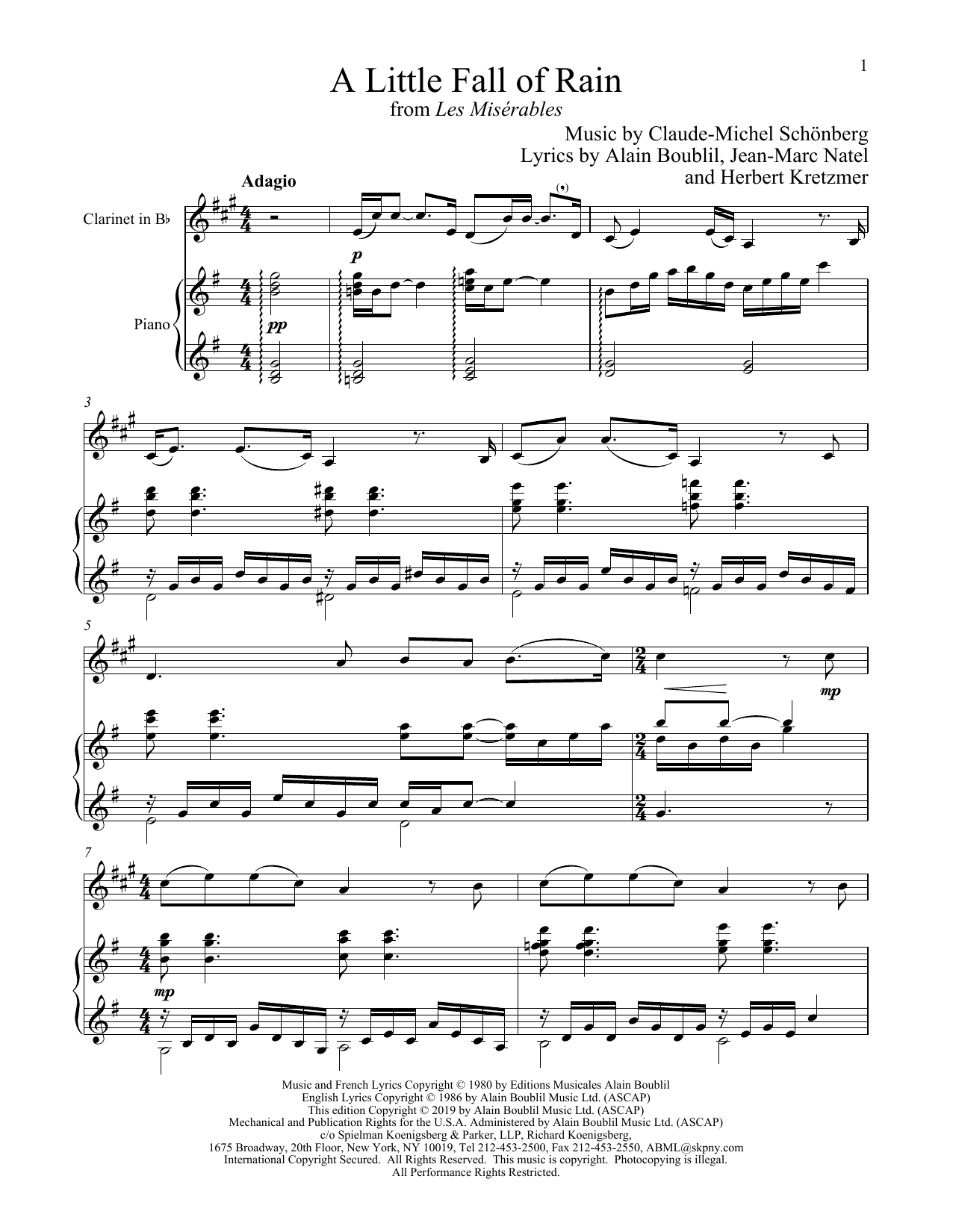 A Little Fall Of Rain (from Les Miserables) (Clarinet and Piano)