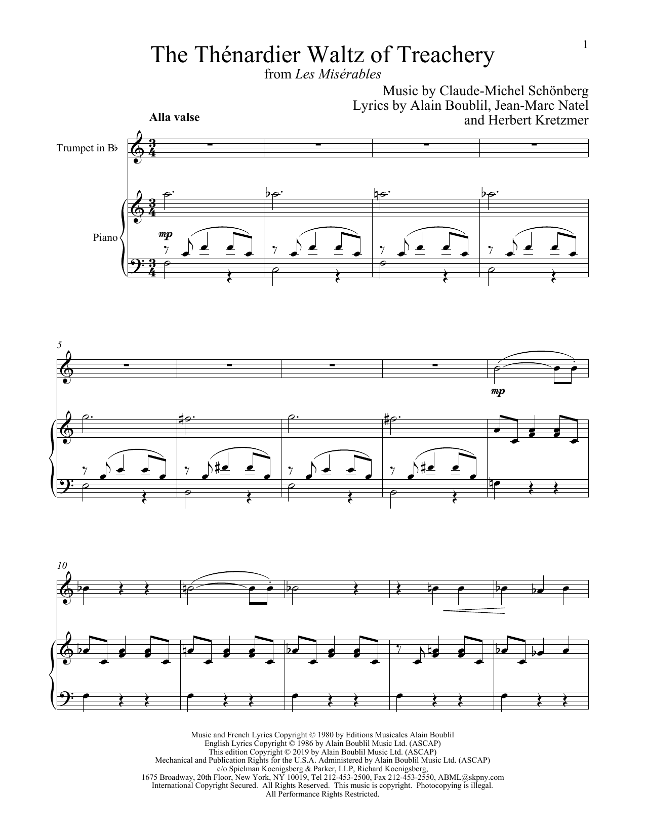 The Thénardier Waltz Of Treachery (from Les Miserables) (Trumpet and Piano)