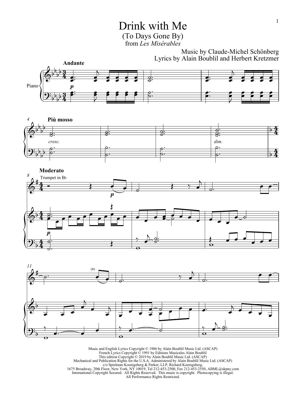Drink With Me (To Days Gone By) (from Les Miserables) (Trumpet and Piano)