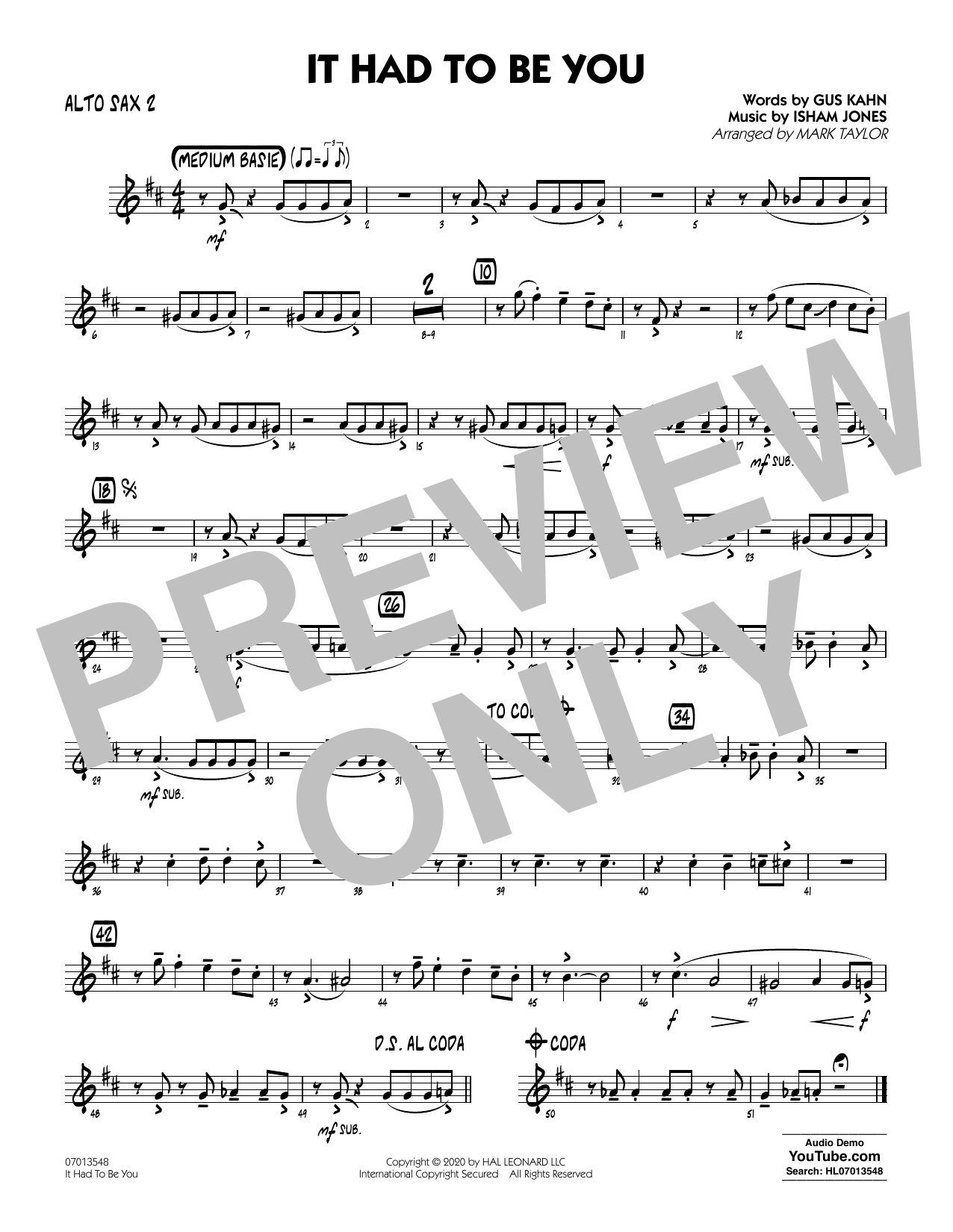 It Had to Be You (arr. Mark Taylor) - Alto Sax 2 Sheet Music