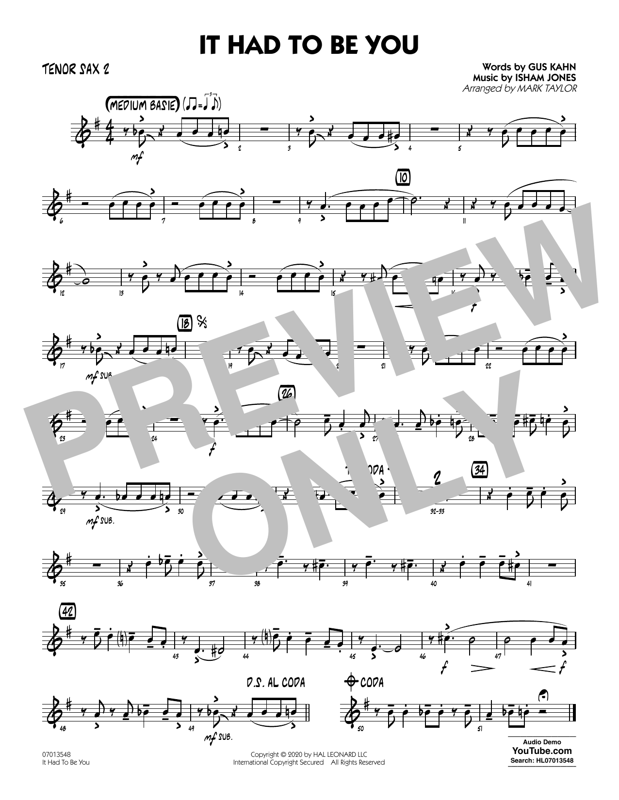 It Had to Be You (arr. Mark Taylor) - Tenor Sax 2 Sheet Music
