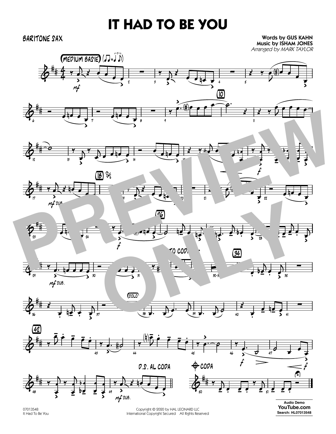 It Had to Be You (arr. Mark Taylor) - Baritone Sax Sheet Music