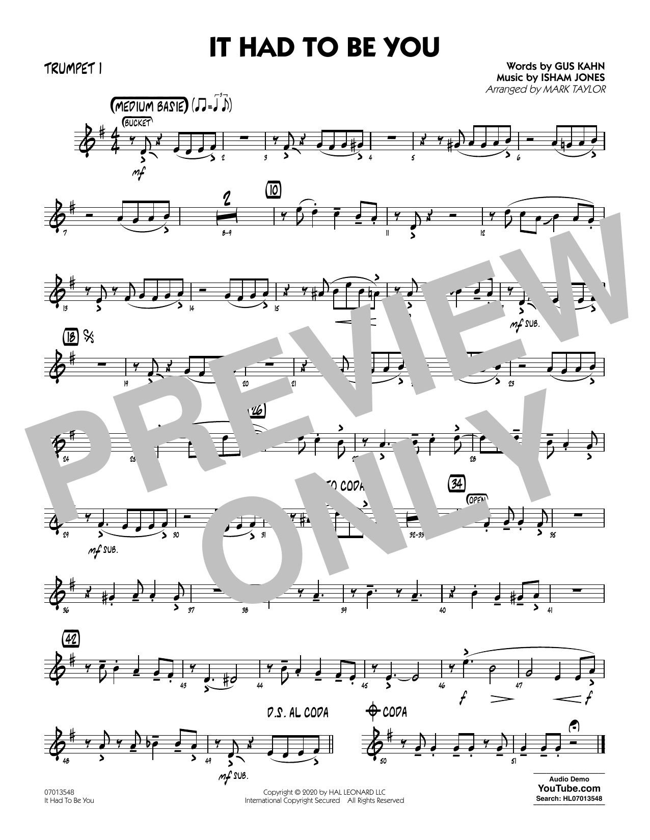 It Had to Be You (arr. Mark Taylor) - Trumpet 1 Sheet Music