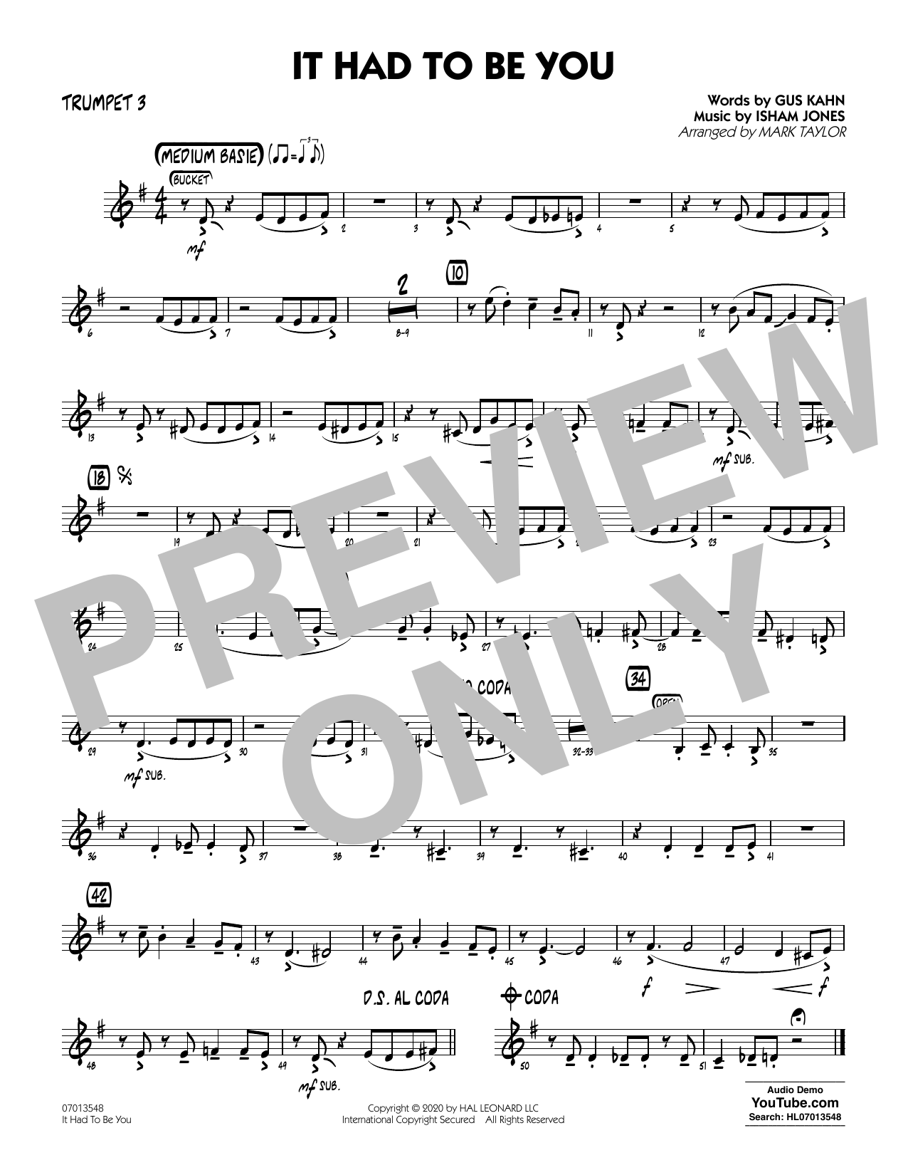 It Had to Be You (arr. Mark Taylor) - Trumpet 3 Sheet Music