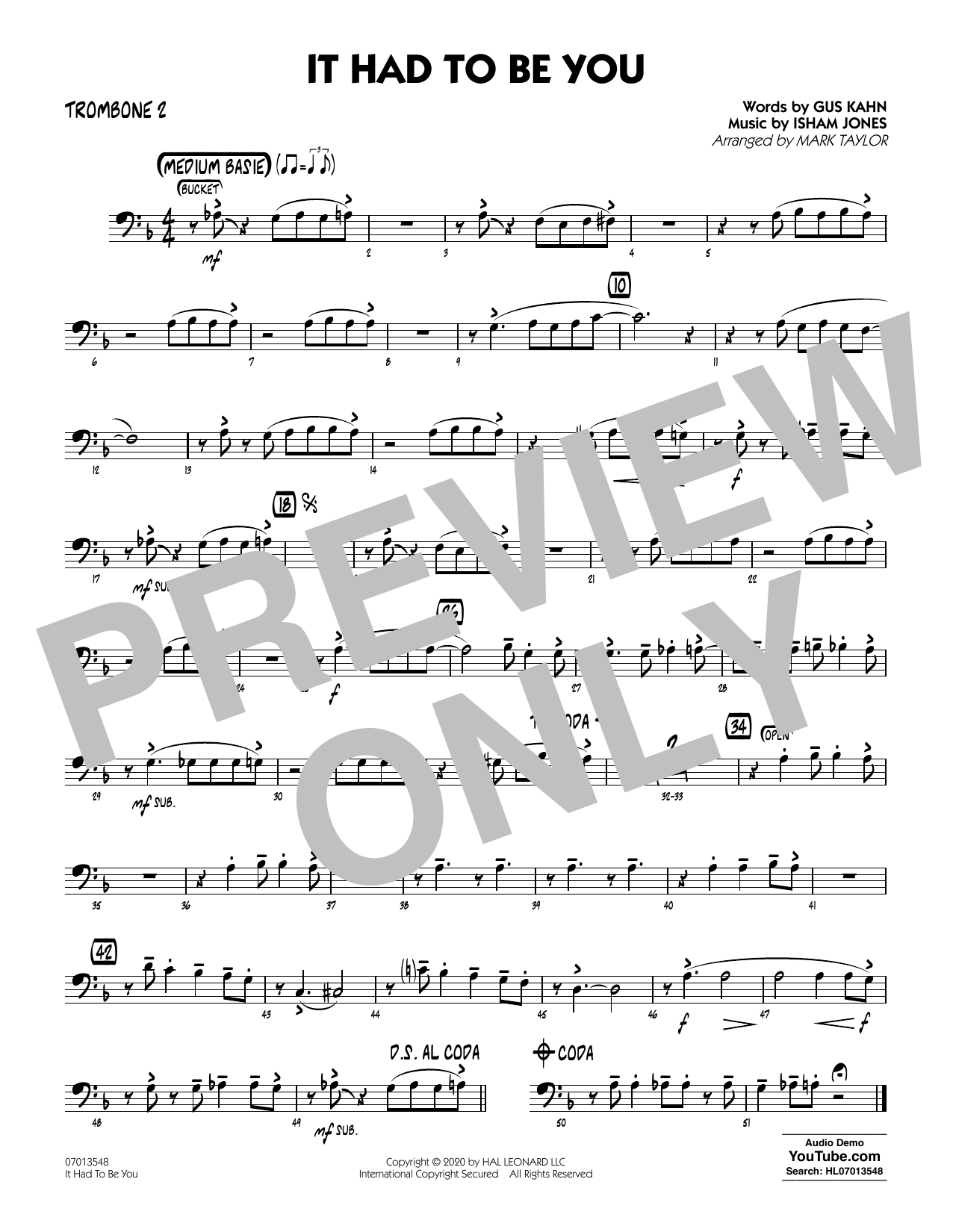 It Had to Be You (arr. Mark Taylor) - Trombone 2 Sheet Music