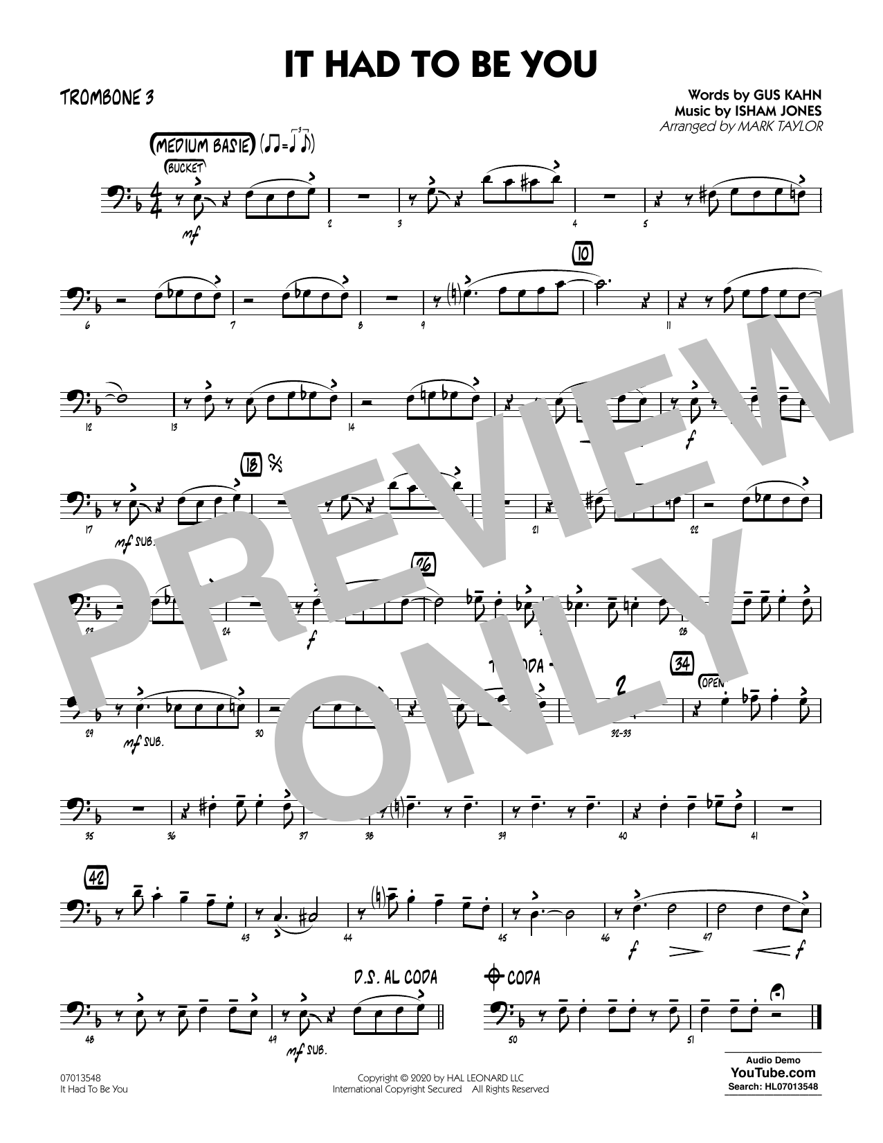 It Had to Be You (arr. Mark Taylor) - Trombone 3 Sheet Music