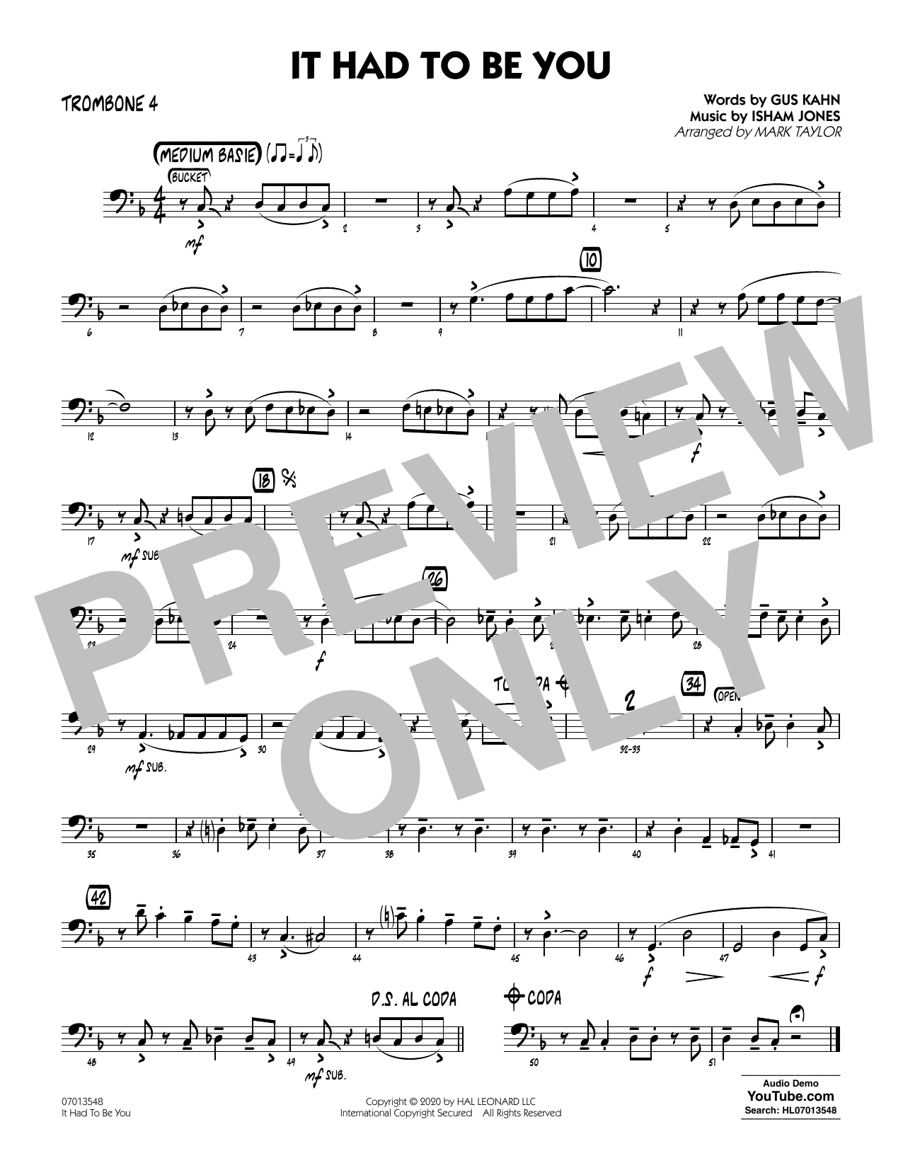It Had to Be You (arr. Mark Taylor) - Trombone 4 Sheet Music