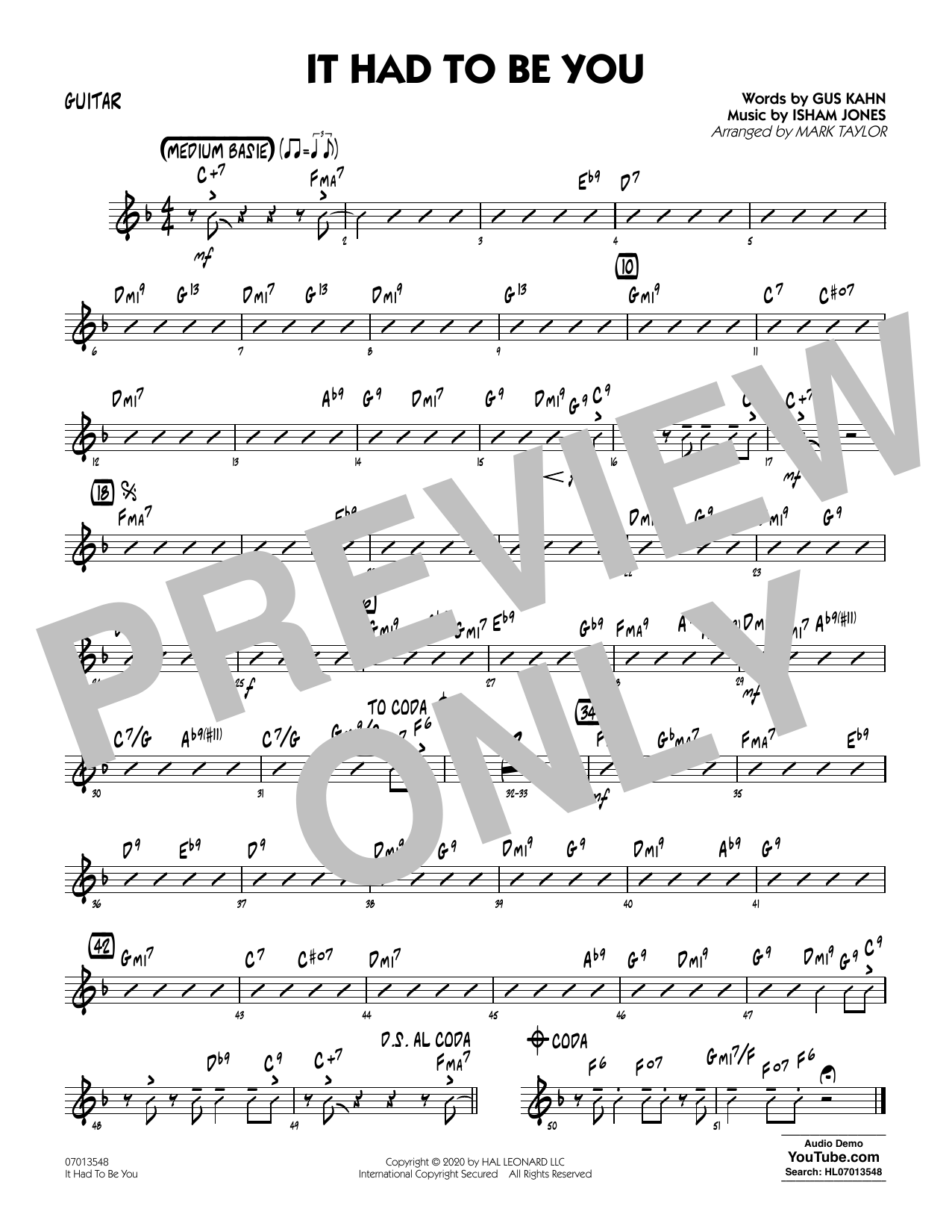 It Had to Be You (arr. Mark Taylor) - Guitar Sheet Music