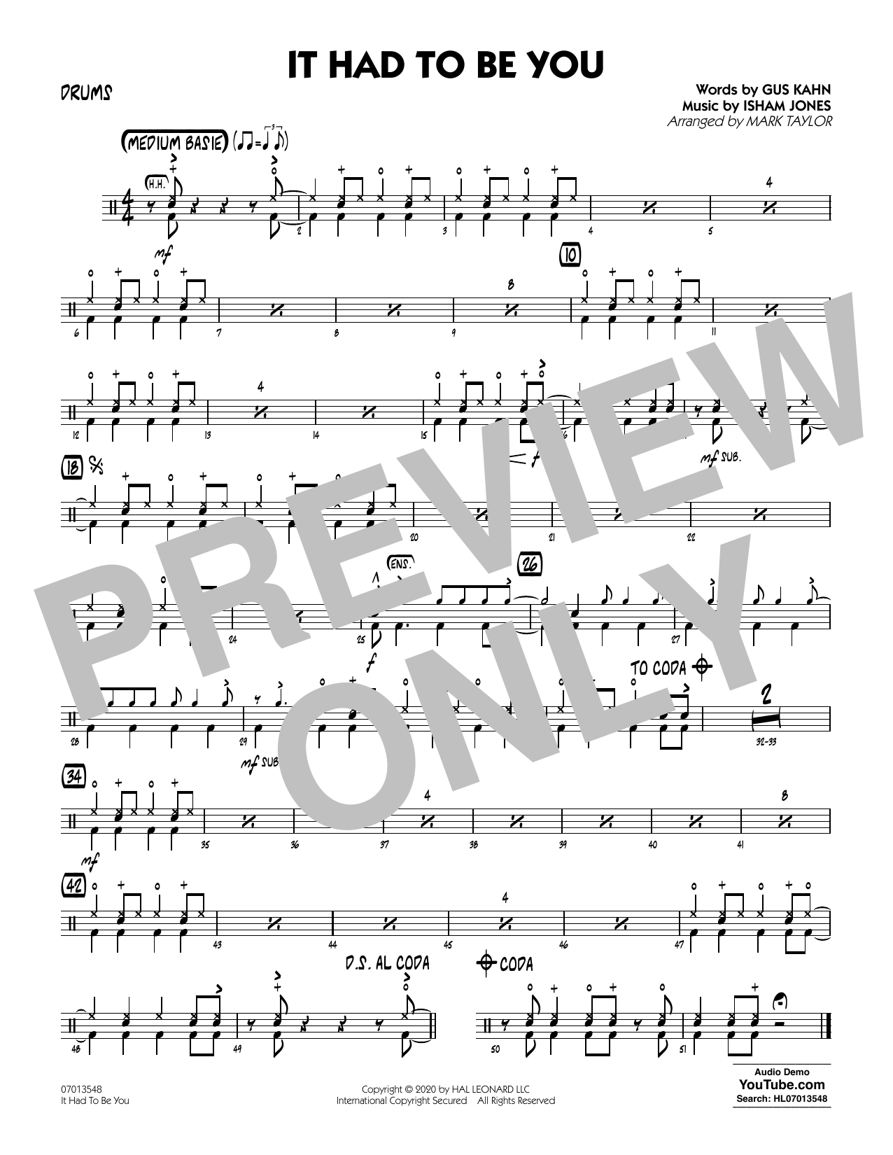 It Had to Be You (arr. Mark Taylor) - Drums Sheet Music