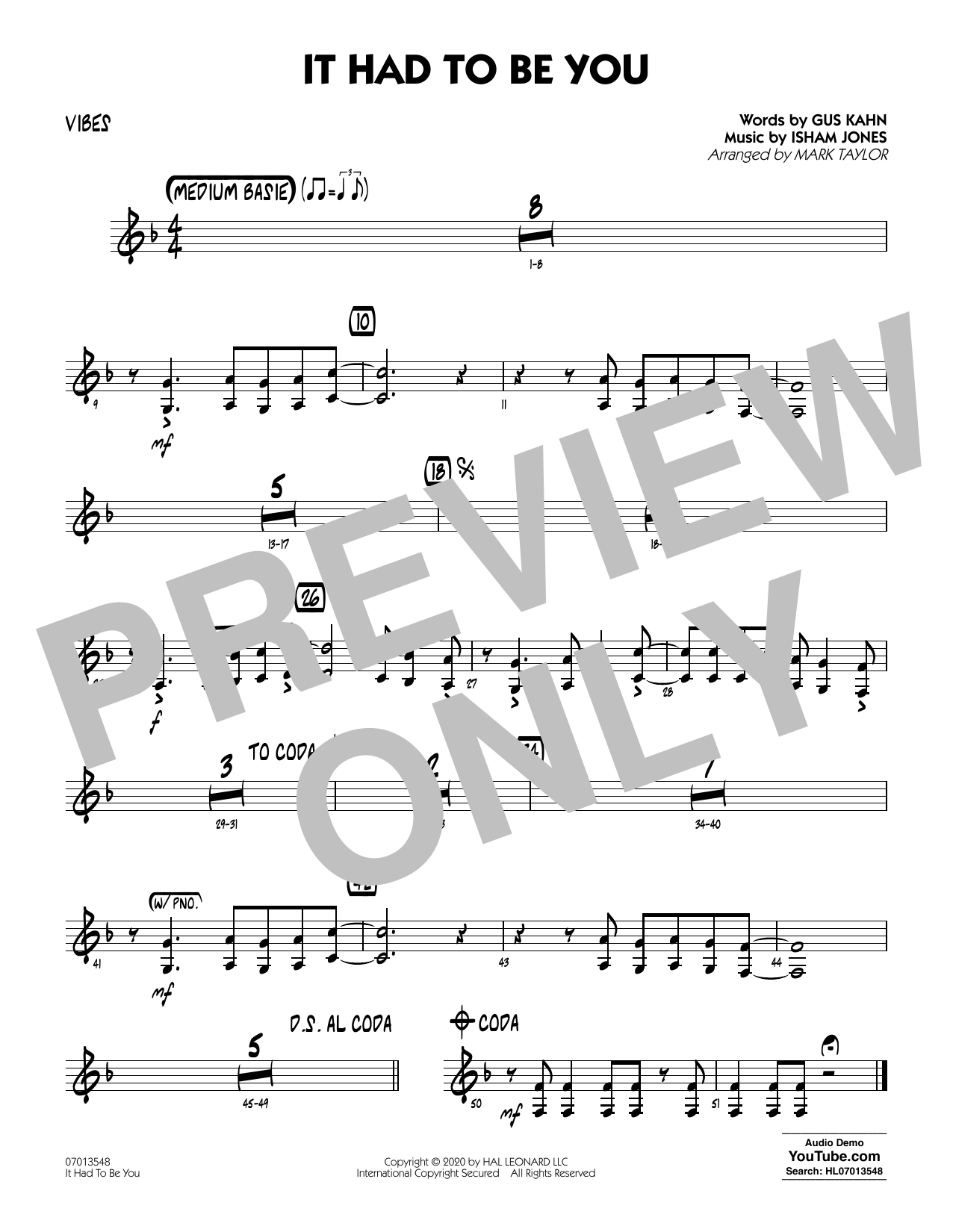 It Had to Be You (arr. Mark Taylor) - Vibes Sheet Music