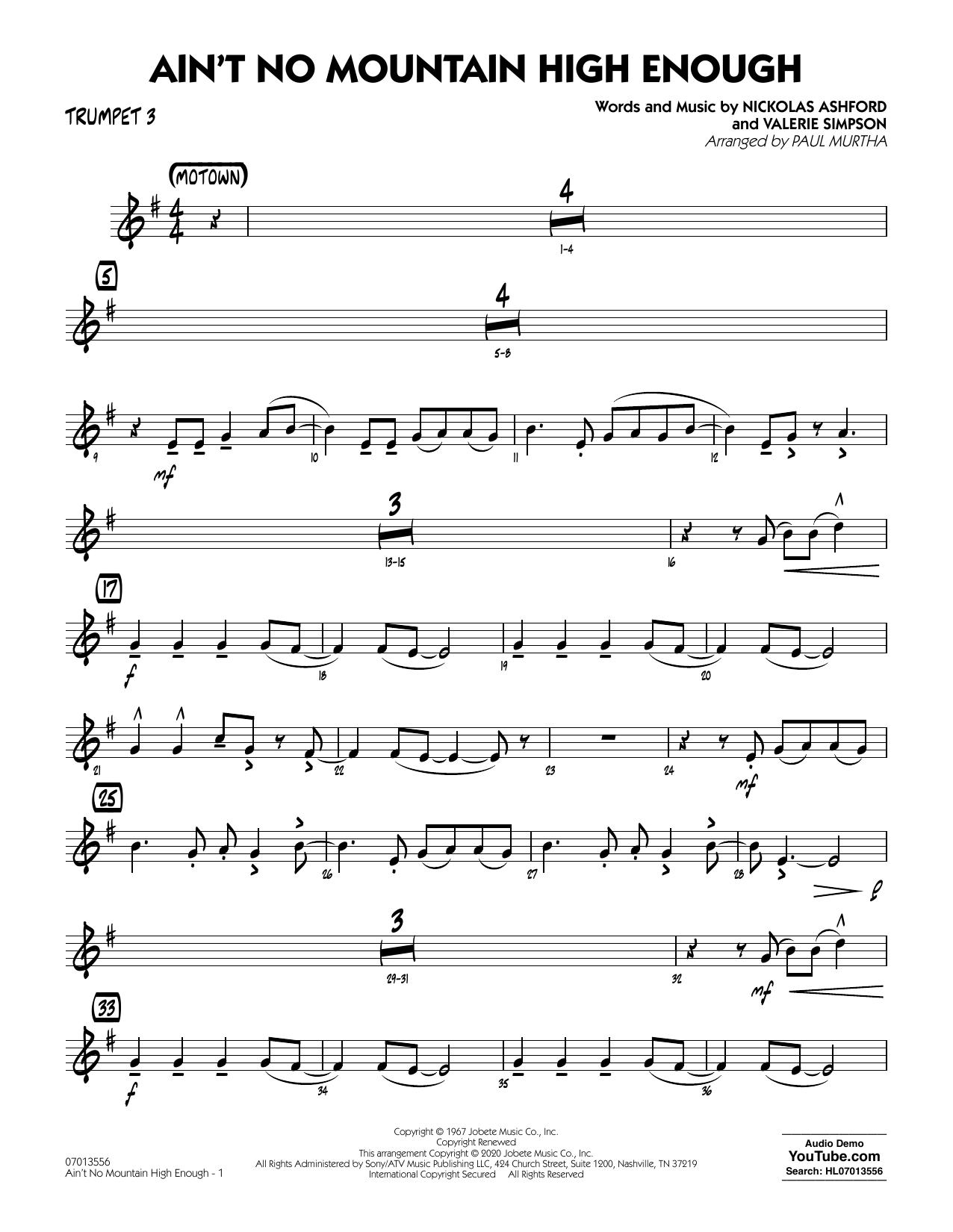 Ain't No Mountain High Enough (arr. Paul Murtha) - Trumpet 3 Sheet Music