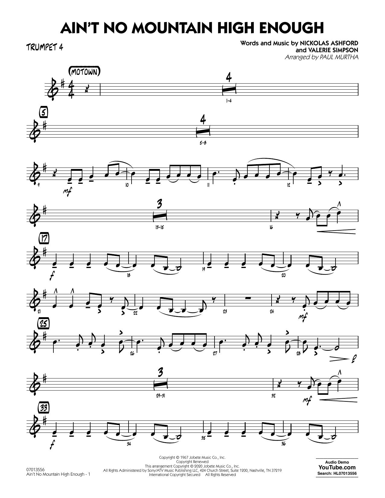 Ain't No Mountain High Enough (arr. Paul Murtha) - Trumpet 4 Sheet Music