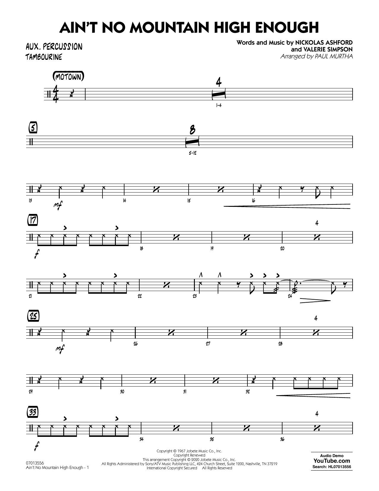 Ain't No Mountain High Enough (arr. Paul Murtha) - Aux Percussion Sheet Music