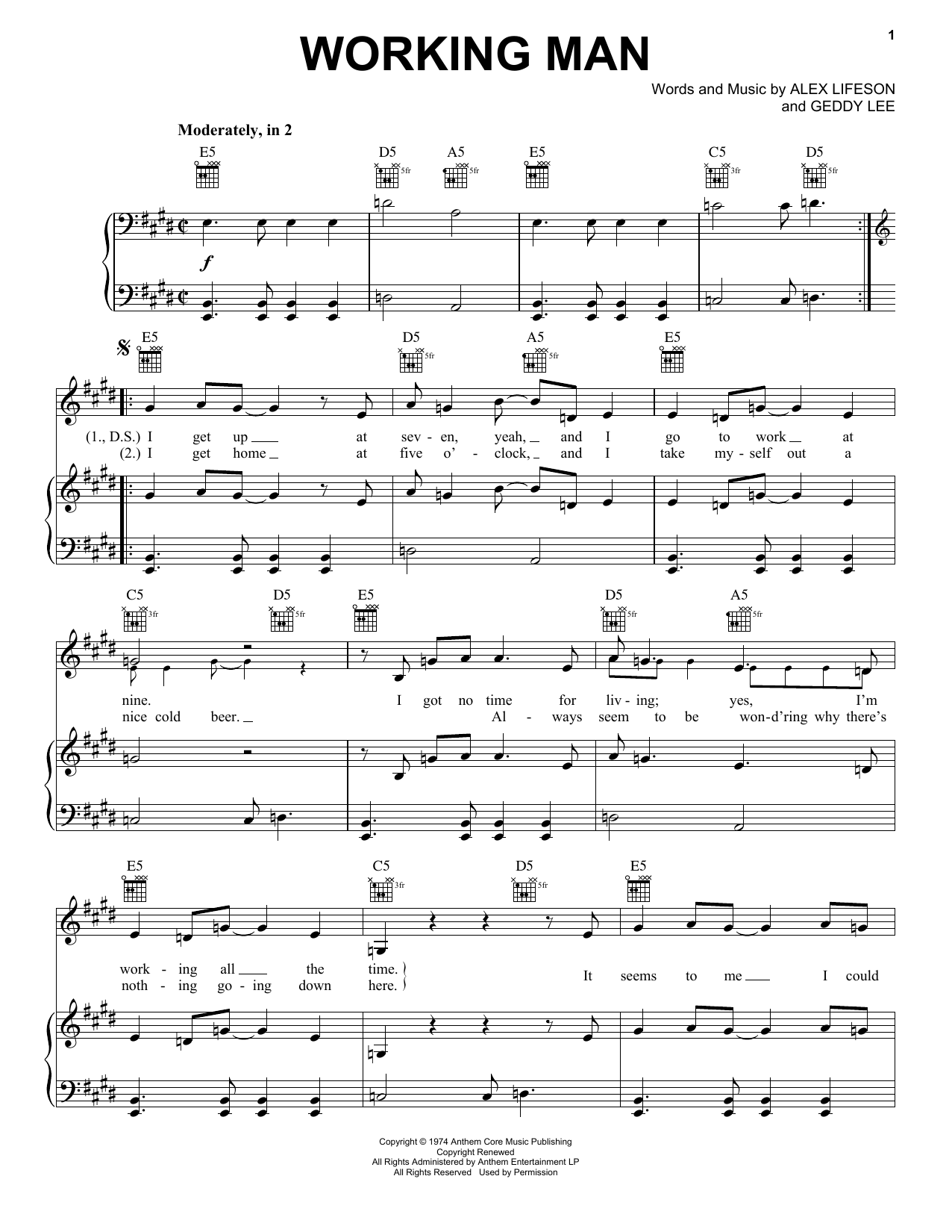 Working Man (Piano, Vocal & Guitar (Right-Hand Melody))