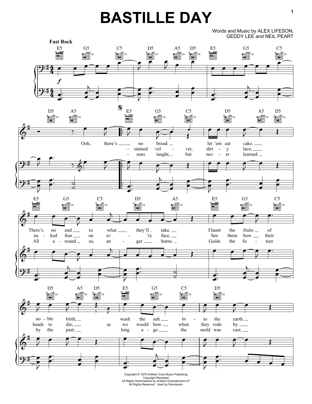 Bastille Day (Piano, Vocal & Guitar (Right-Hand Melody))