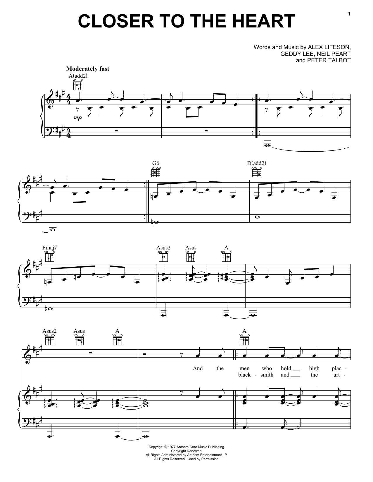 Closer To The Heart (Piano, Vocal & Guitar (Right-Hand Melody))