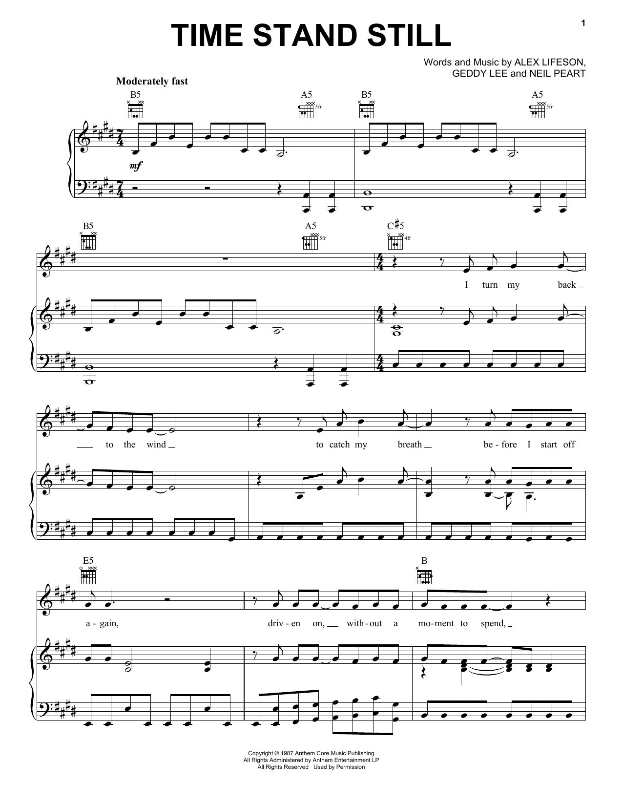 Time Stand Still (Piano, Vocal & Guitar (Right-Hand Melody))