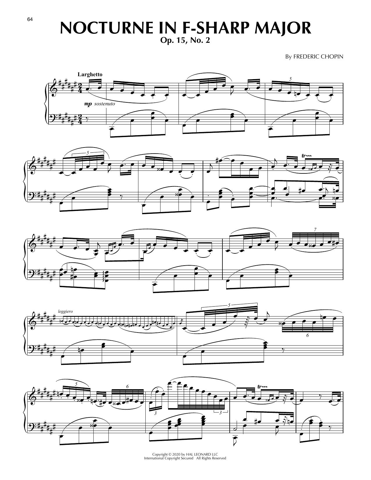 Nocturne In F Sharp Major, Op. 15, No. 2 (Piano Solo)