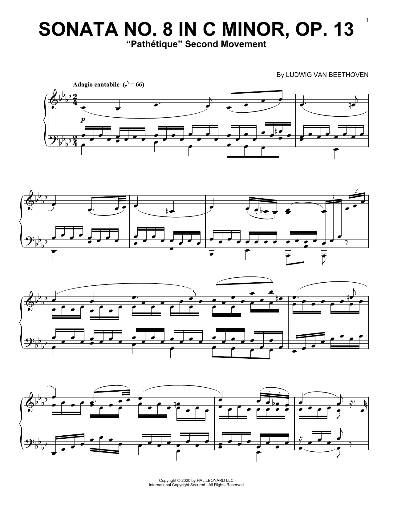 Sonata In C Minor, Op. 13 'Pathetique' (2nd Movement) Partition Digitale