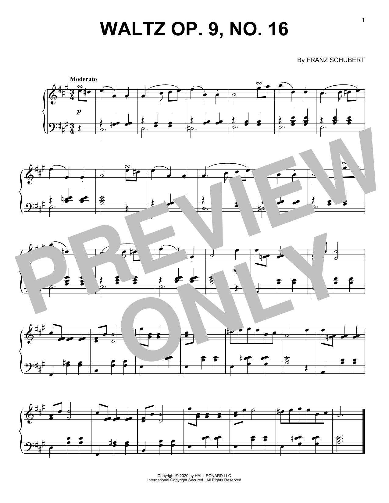 Waltz, Op. 9, No. 16 (Piano Solo)