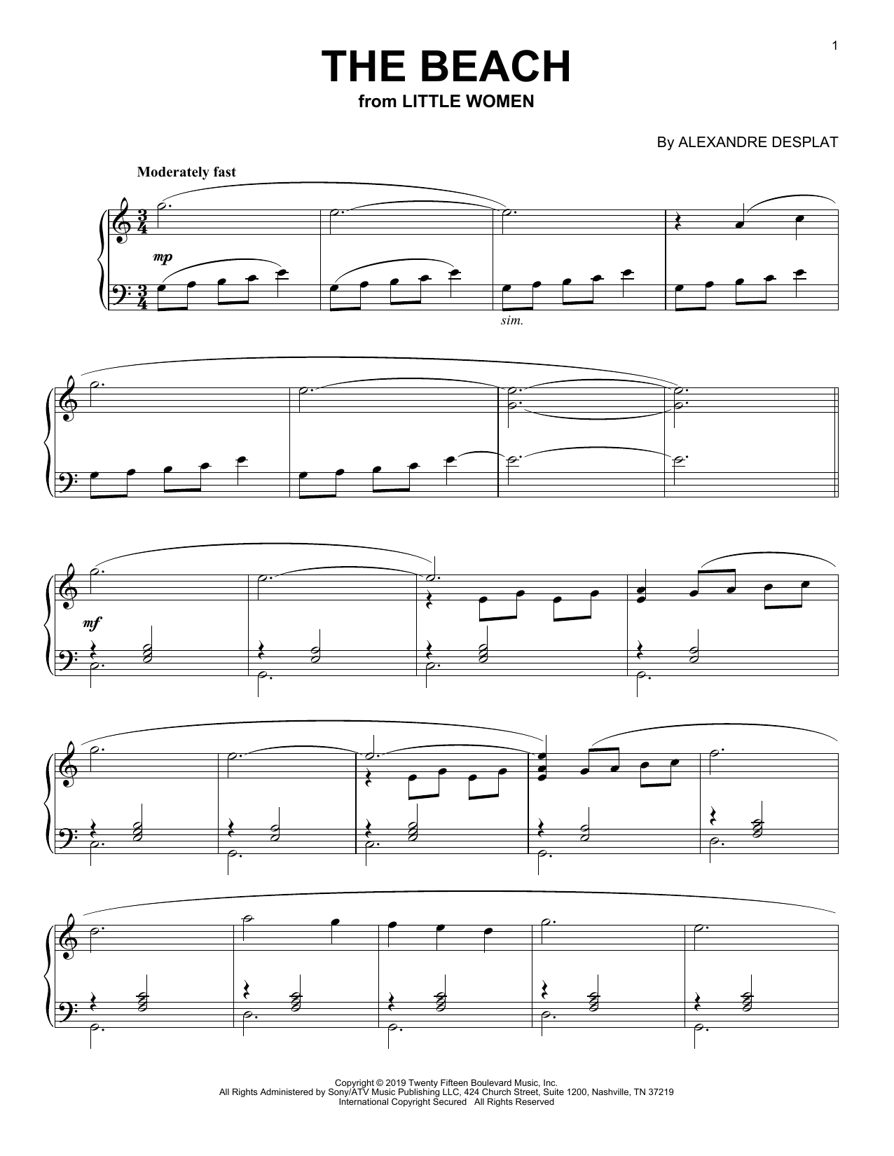 The Beach (from the Motion Picture Little Women) (Piano Solo)