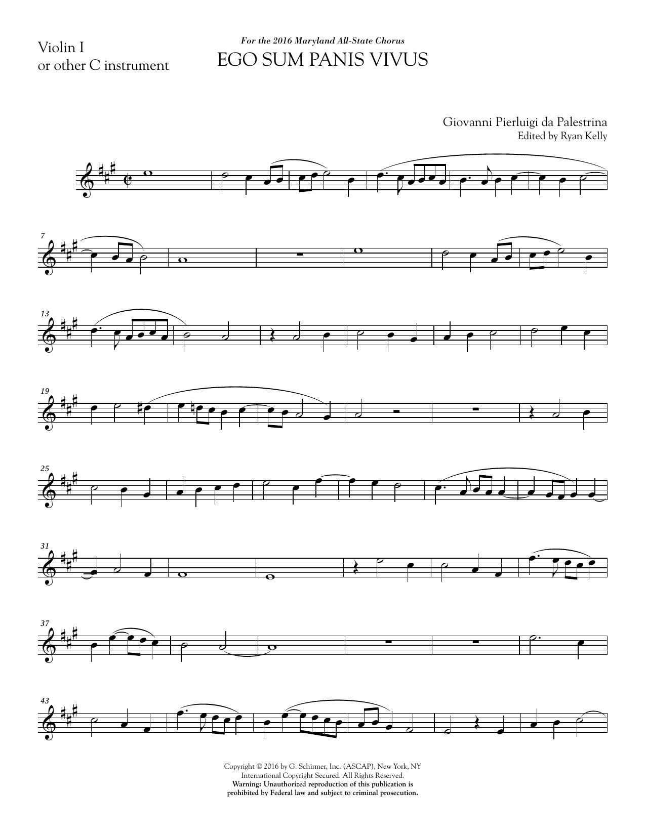 Ego sum panis vivus (ed. Ryan Kelly) - Violin 1 Sheet Music