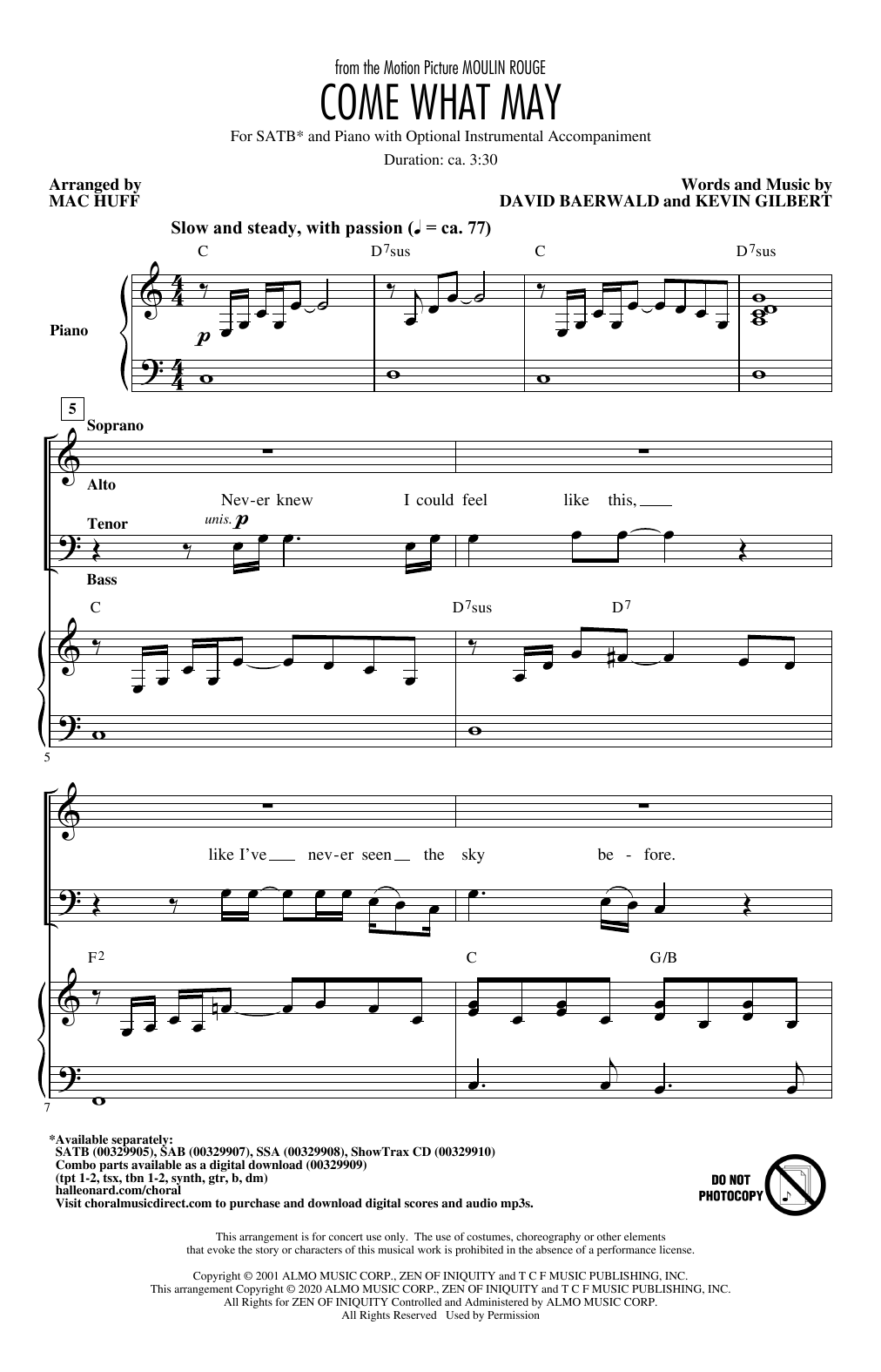 Come What May (from Moulin Rouge) (arr. Mac Huff) Sheet Music